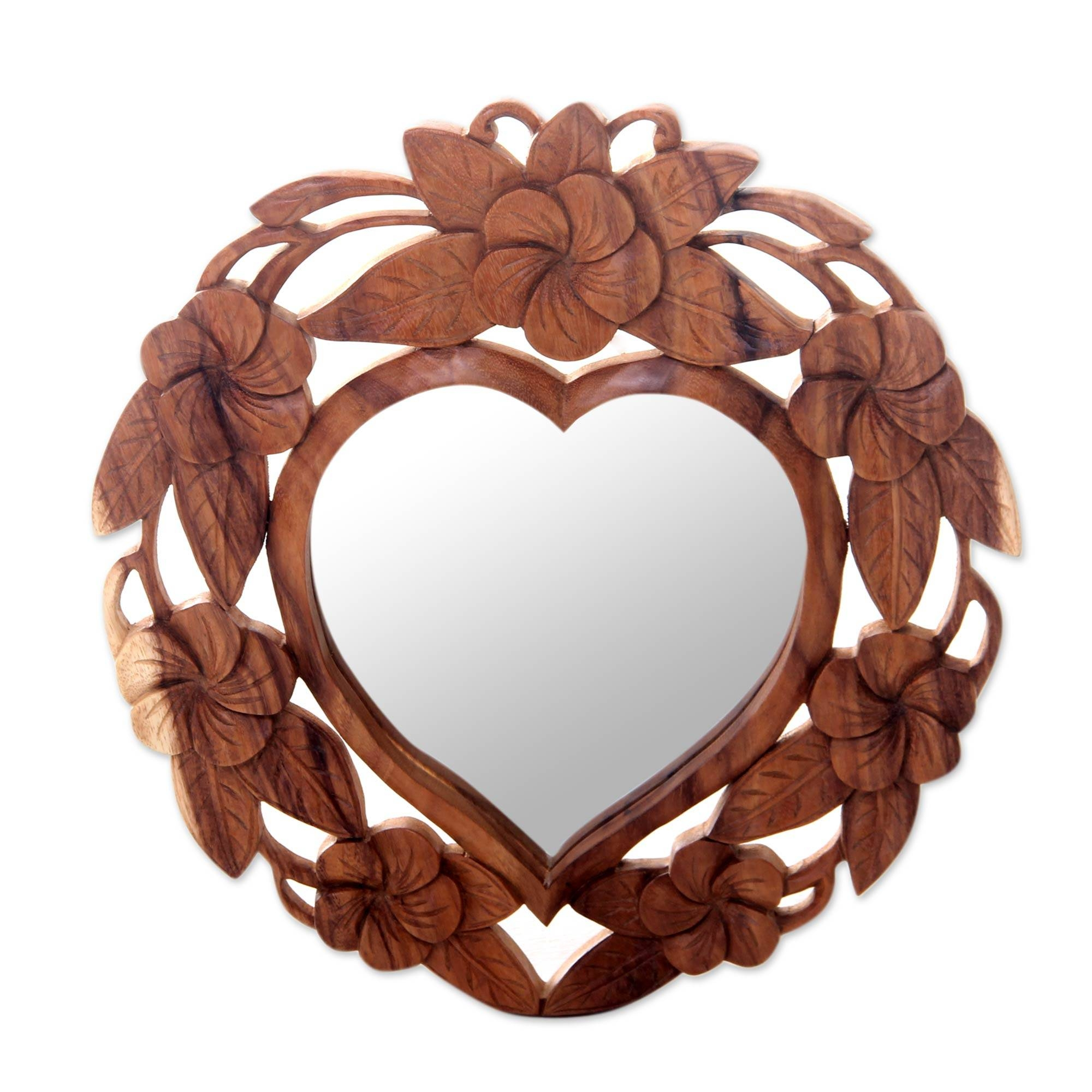 Heart Shaped Wood Wall Mirror With Floral Motif – Frangipani Heart Intended For Heart Wall Mirrors (View 15 of 25)