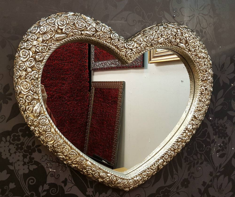 Heart Wall Mirror Ornate Champagne Silver Frame French Engrved for Ornate Silver Mirrors (Image 8 of 25)