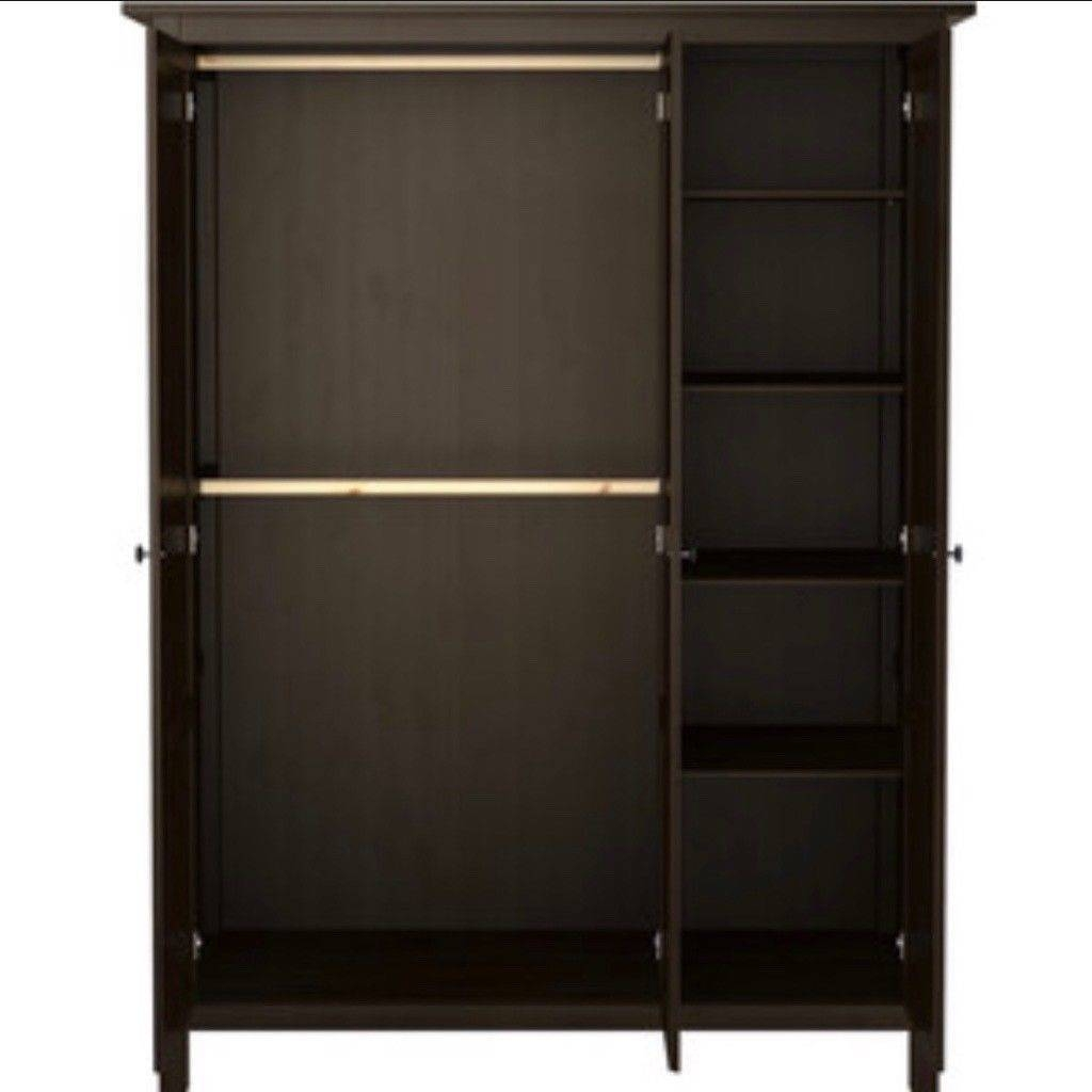Hemnes Brown Black 3 Door Wardrobe Like New | In Newbury regarding Black 3 Door Wardrobes (Image 8 of 15)