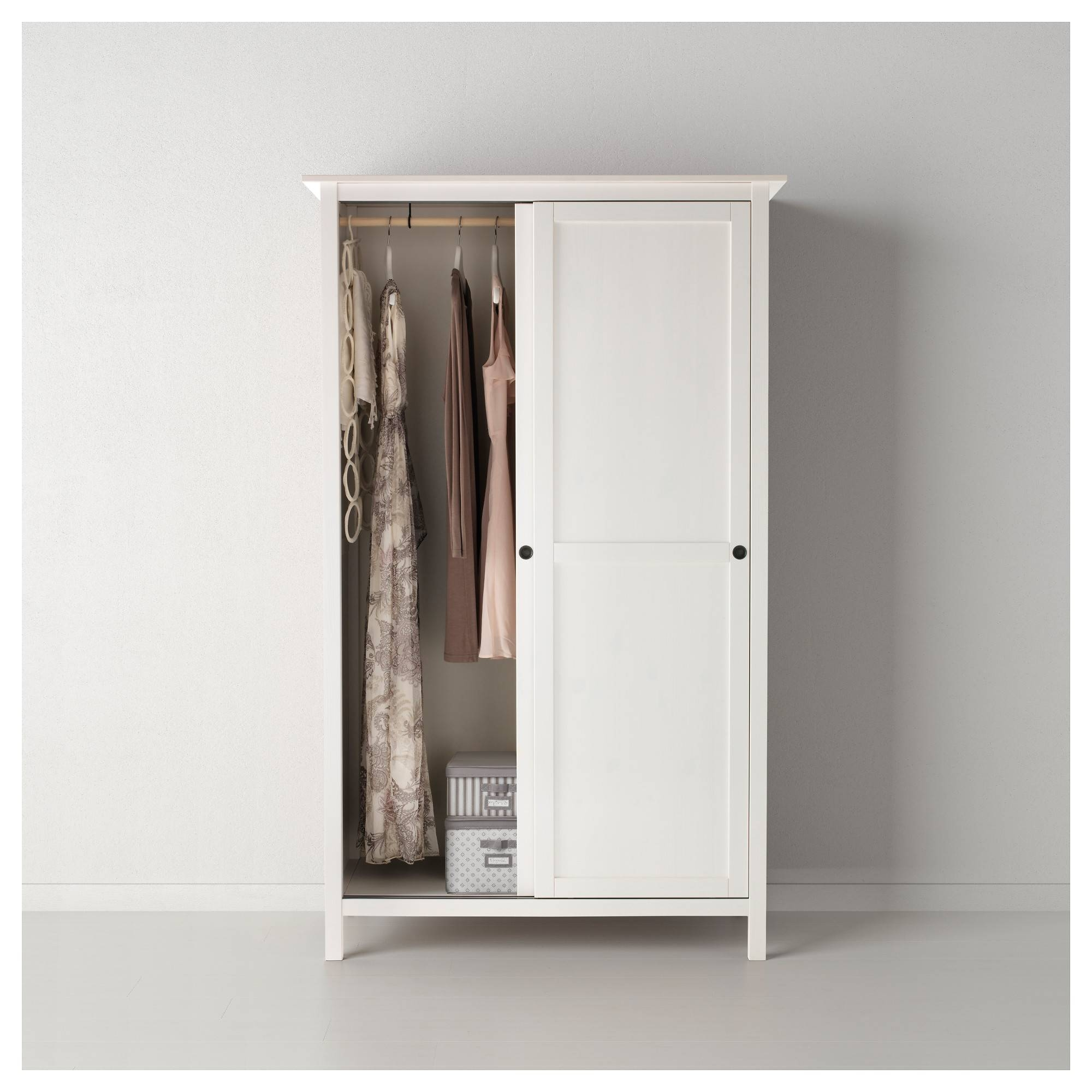 Hemnes Wardrobe With 2 Sliding Doors White Stain 120X197 Cm - Ikea inside 2 Sliding Door Wardrobes (Image 5 of 15)