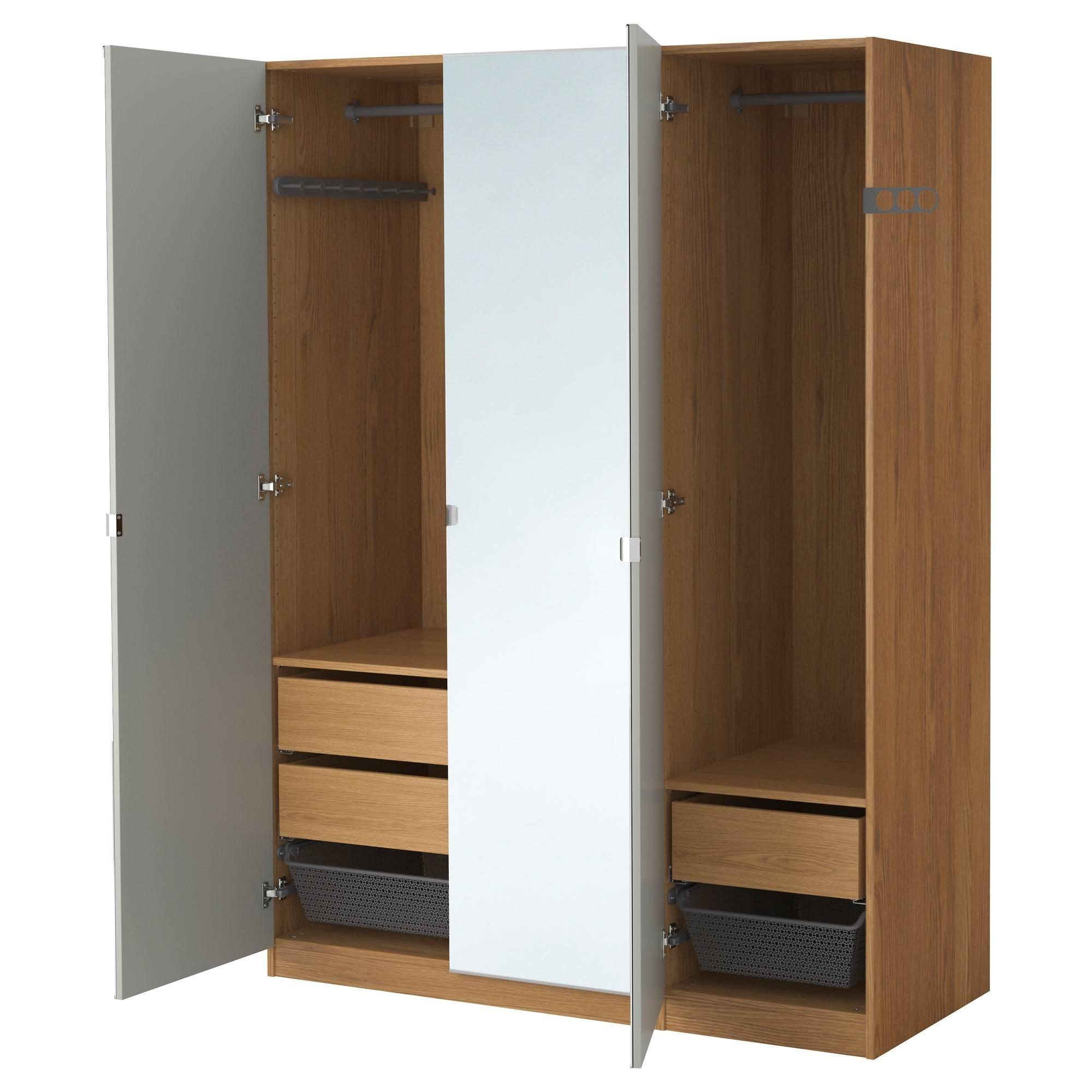 Hemnes Wardrobe With 3 Doors Black Brown pertaining to Brown Wardrobes (Image 6 of 15)