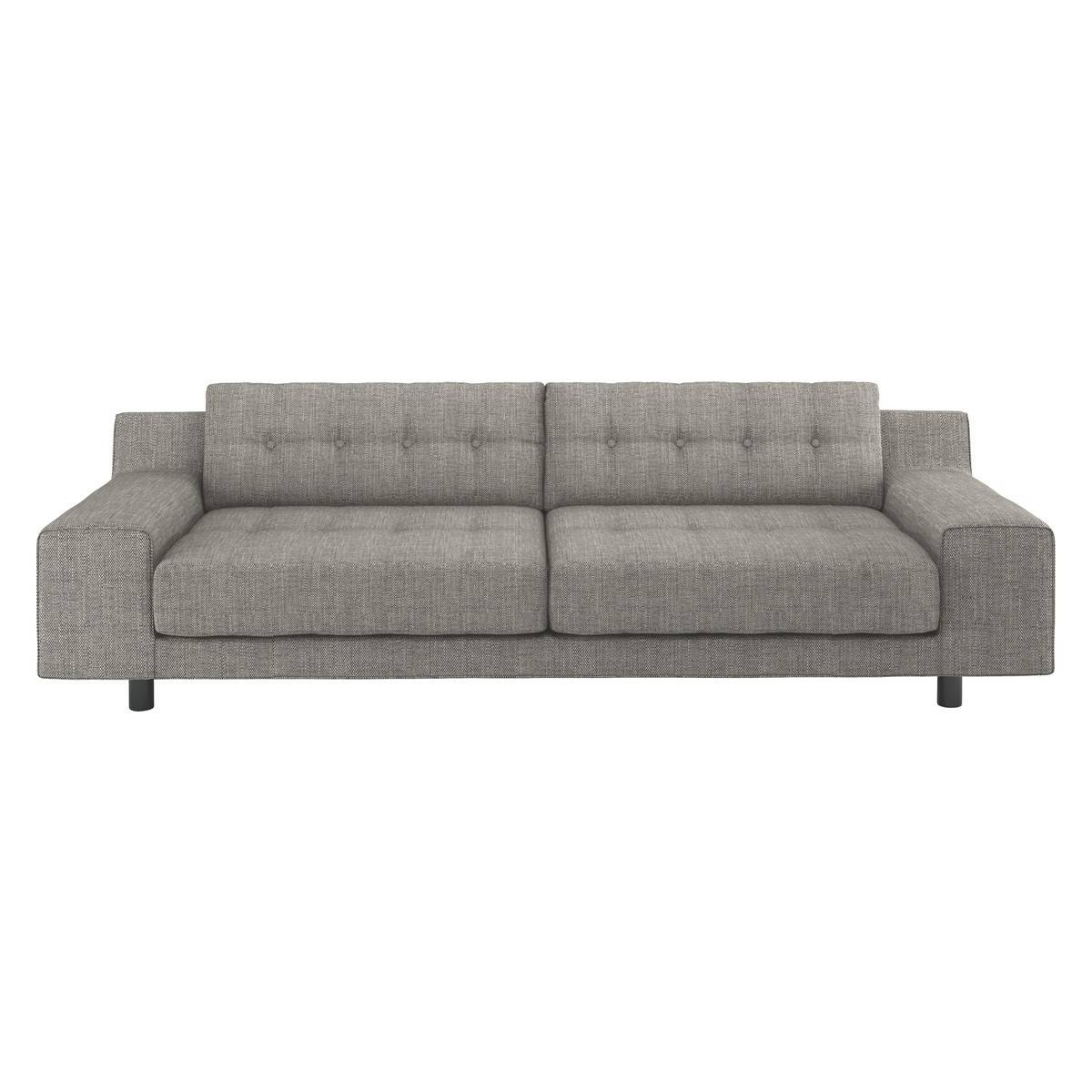 Hendricks Black And White Italian Woven Fabric 3 Seater Sofa | Buy with Black And White Sofas (Image 15 of 30)