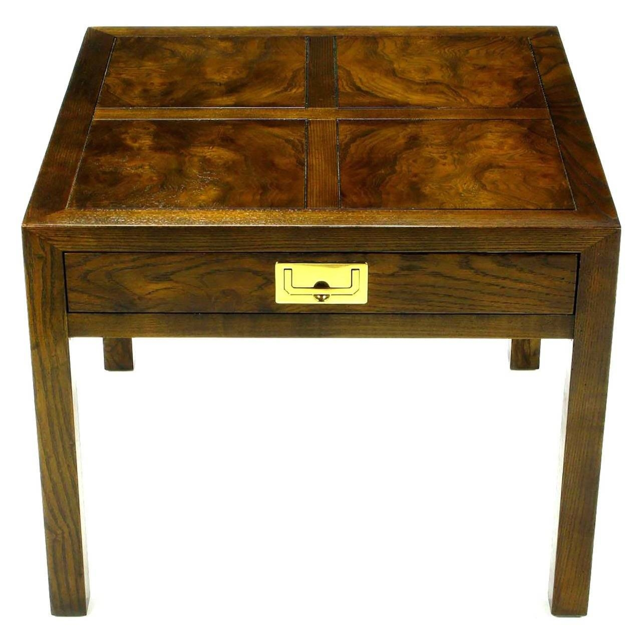 Henredon Parquetry Top Burl Walnut Campaign End Table At 1Stdibs regarding Campaign Coffee Tables (Image 13 of 30)