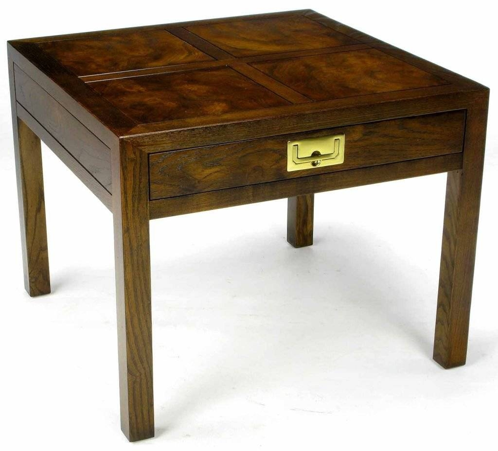 Henredon Parquetry-Top Burl-Walnut Campaign End Table At 1Stdibs throughout Campaign Coffee Tables (Image 14 of 30)