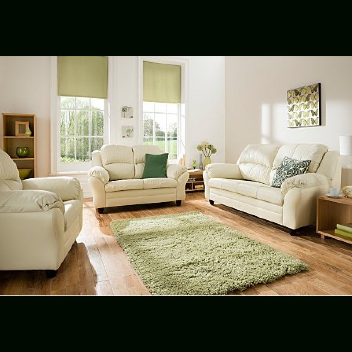 Hereford Large Leather Sofa And Two Chair's Ivory – Furnico Village Regarding Ivory Leather Sofas (View 14 of 30)
