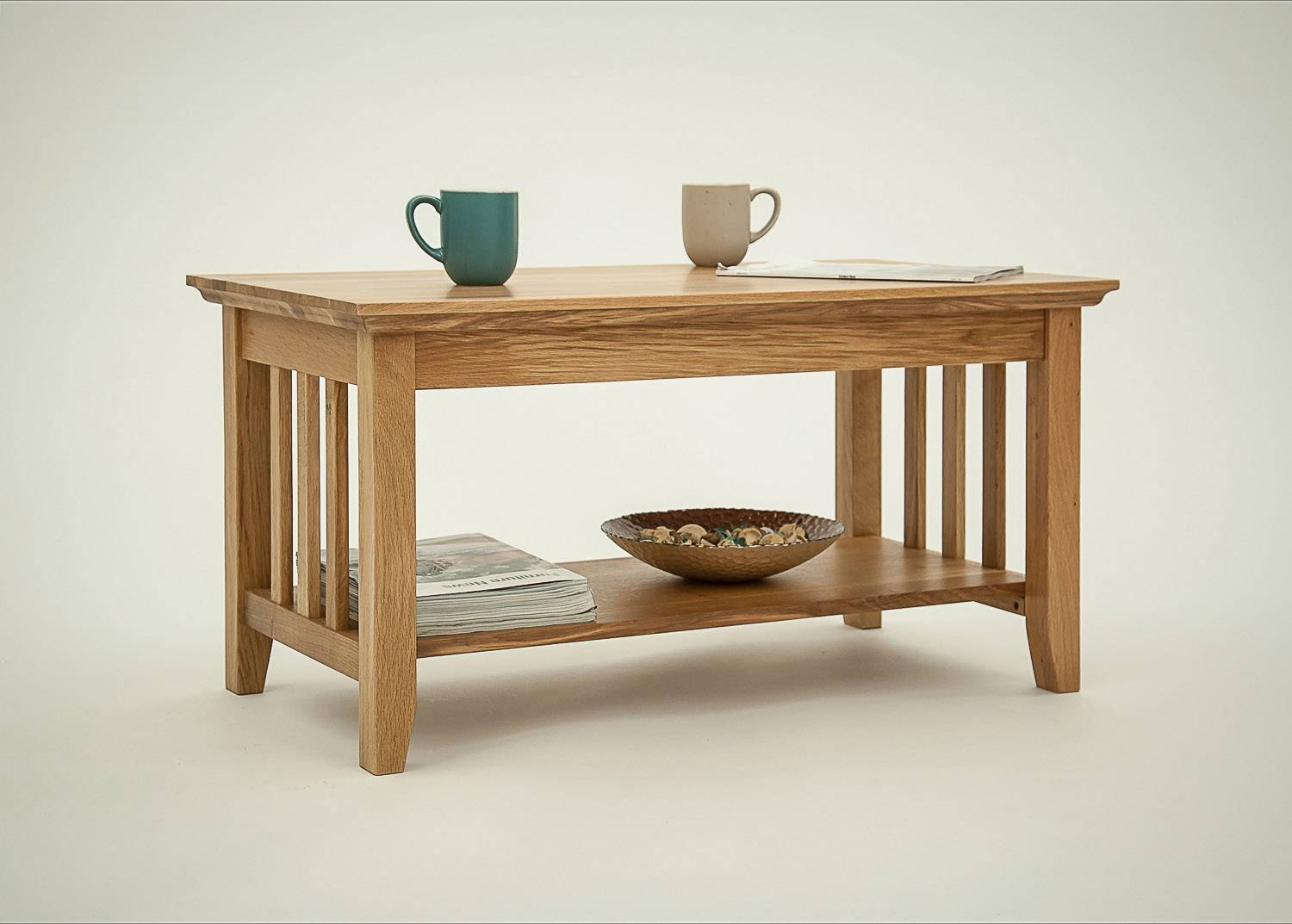 Hereford Rustic Oak Coffee Table With Shelf. Buy Online with regard to Oak Coffee Tables With Shelf (Image 14 of 30)