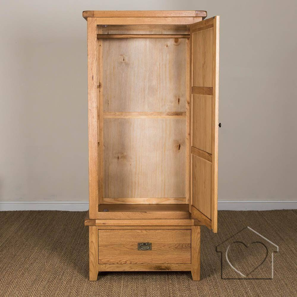 Heritage Rustic Oak Single Wardrobe - £499.00 - A Fantastic Range for Single Oak Wardrobes With Drawers (Image 4 of 15)