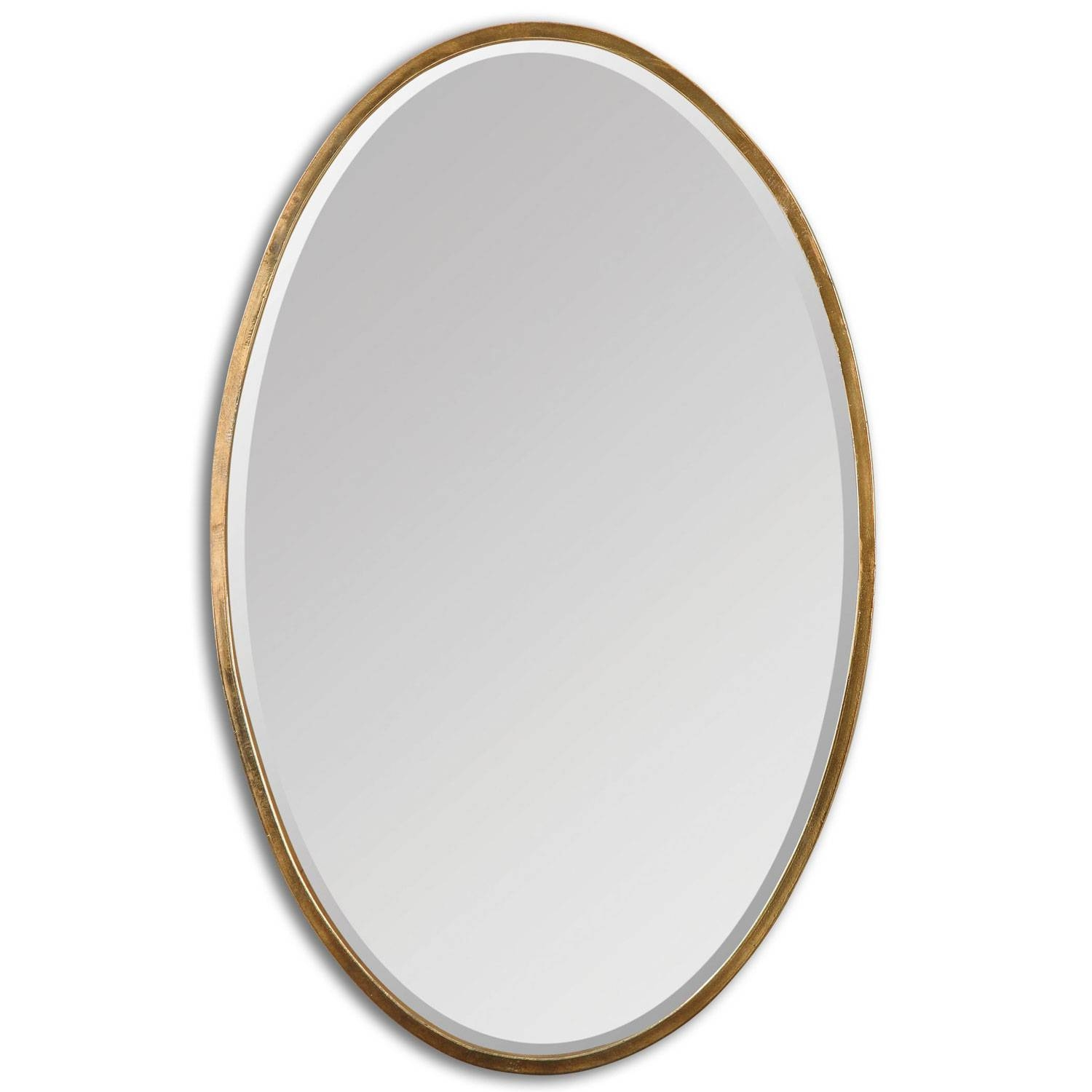 Herleva Oval Antique Gold Oval Mirror Uttermost Wall Mirror throughout Silver Oval Wall Mirrors (Image 11 of 25)