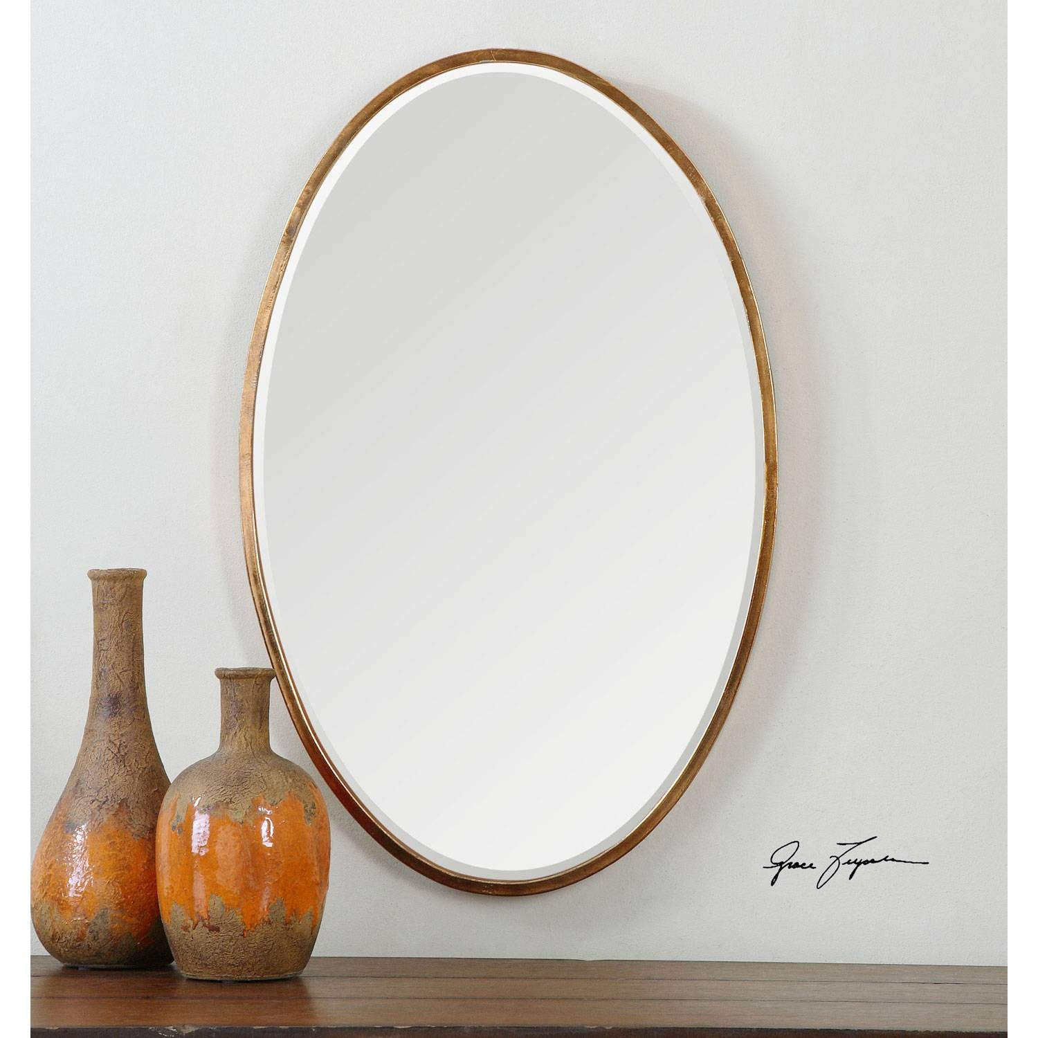 Herleva Oval Antique Gold Oval Mirror Uttermost Wall Mirror within Oval Wall Mirrors (Image 11 of 25)
