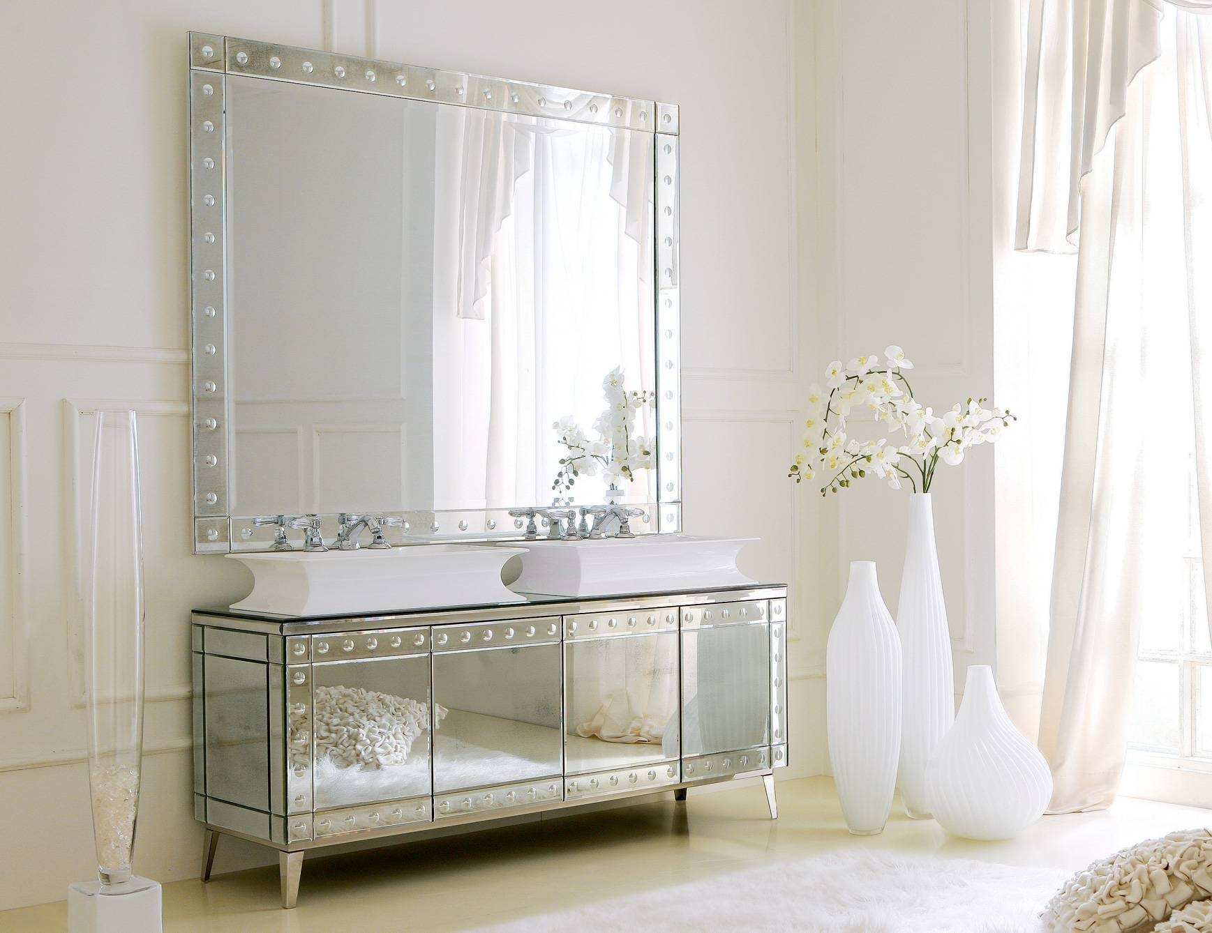 Hermitage H1 High End Italian Bathroom Vanity In Venetian Mirror intended for Venetian Sideboard Mirrors (Image 9 of 25)