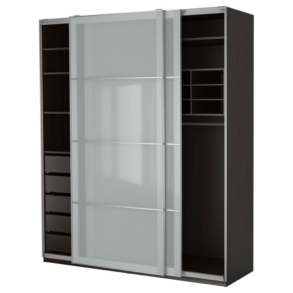 High Black Wooden Wardrobe With Many Shelves Inside Also Sliding within Wardrobes With Shelves (Image 14 of 30)