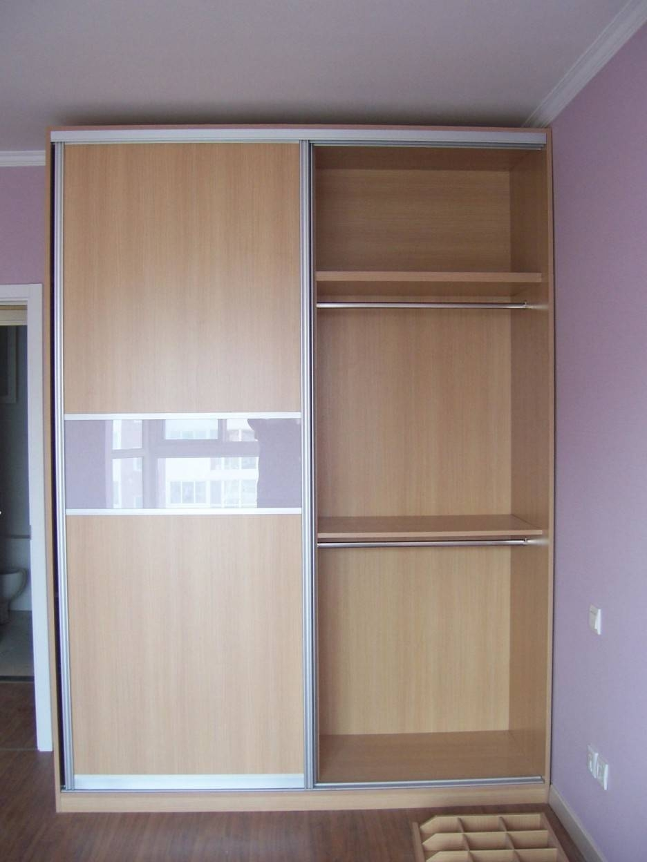 High Cream Wooden Wardrobe With Sliding Door Also Shelves Inside in Wardrobes With Shelves (Image 15 of 30)