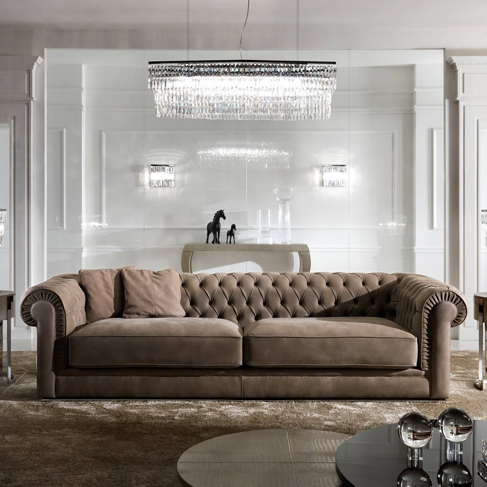 High End Italian Nubuck Leather Button Upholstered Sofa with regard to High End Sofa (Image 7 of 30)