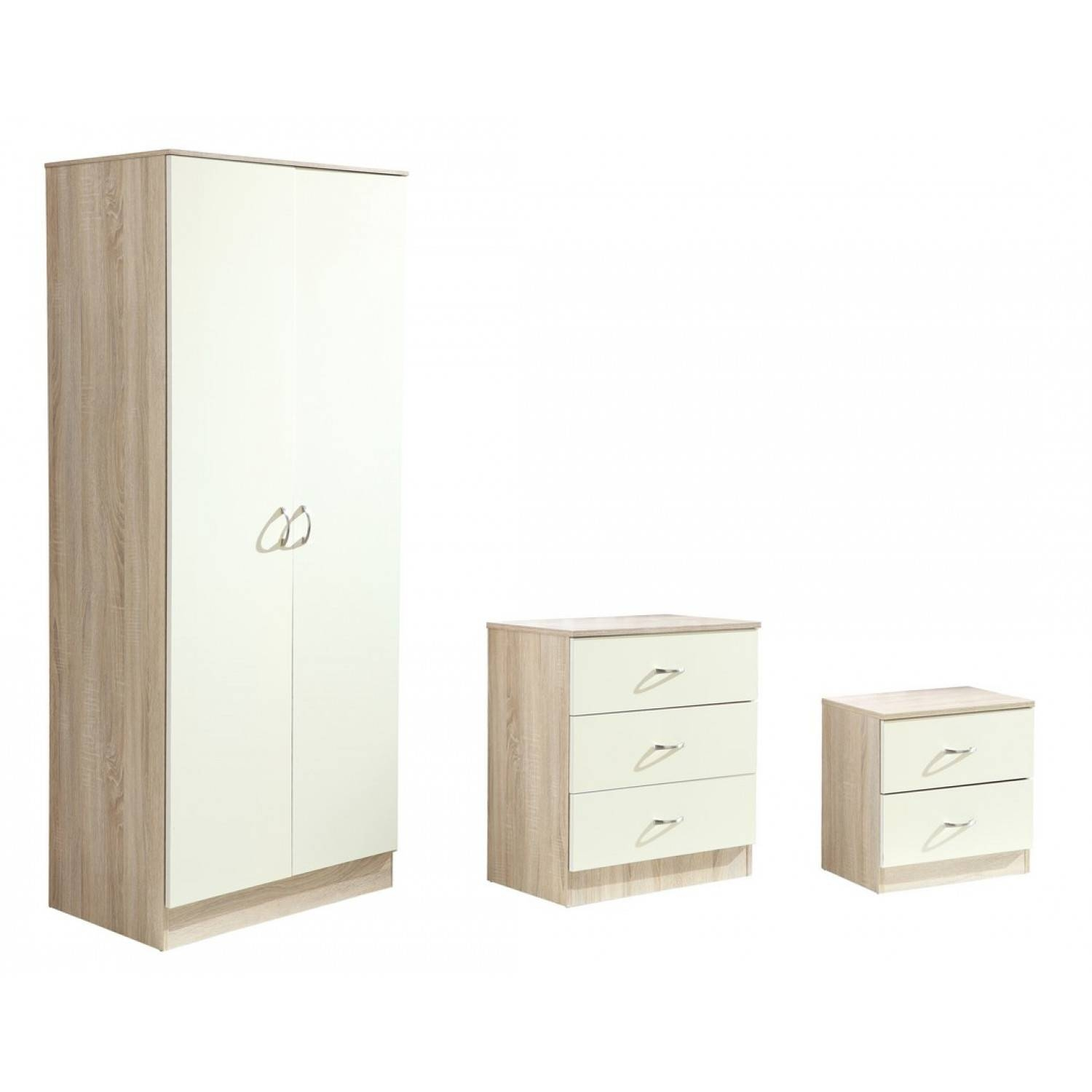 High Gloss Bedroom Trio Set - Two Door Wardrobe + Two Drawer with regard to Cream Gloss Wardrobes (Image 9 of 15)