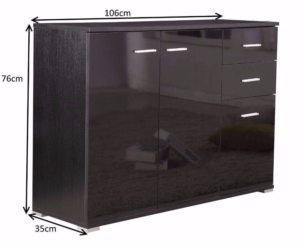 High Gloss Black 3 Doors 2 Drawers Sideboard / Cupboard / Buffet intended for High Gloss Black Sideboards (Image 18 of 30)