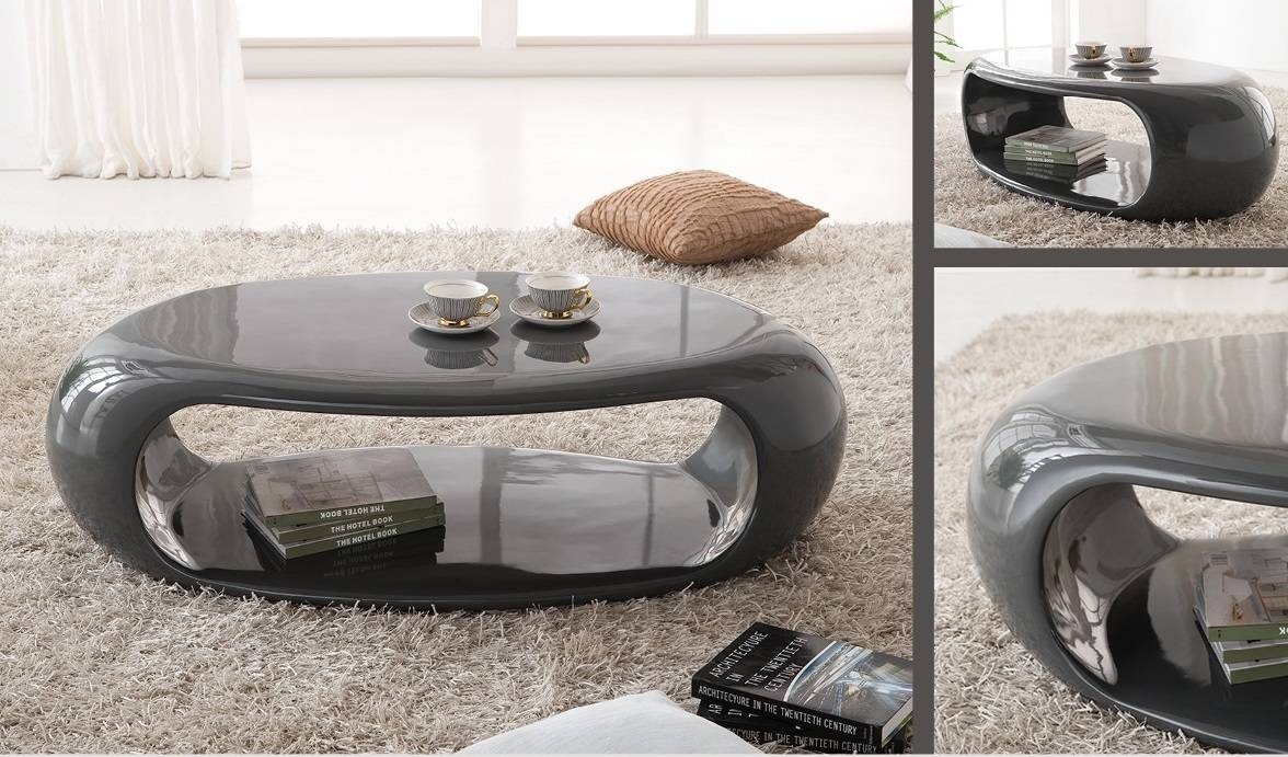 High Gloss Black Oval Coffee Table | Coffee Tables Decoration in Gloss Coffee Tables (Image 16 of 30)