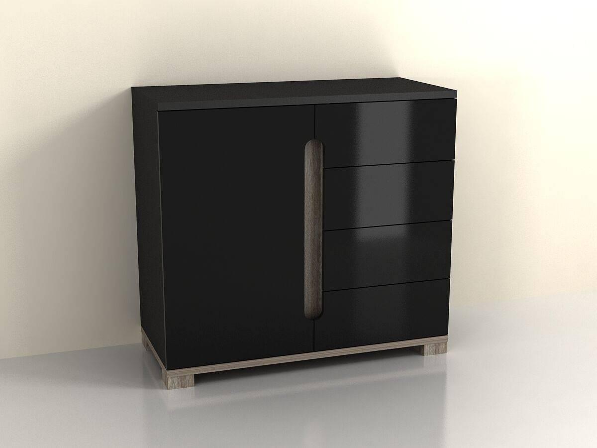 High Gloss Black Sideboard Drawer Narrow Cabinet Unit Small regarding High Gloss Black Sideboards (Image 19 of 30)