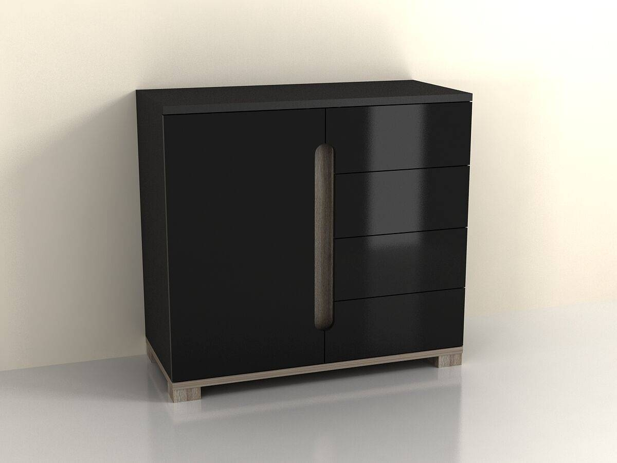 High Gloss Black Sideboard Drawer Narrow Cabinet Unit Small throughout Black Gloss Sideboards (Image 15 of 30)