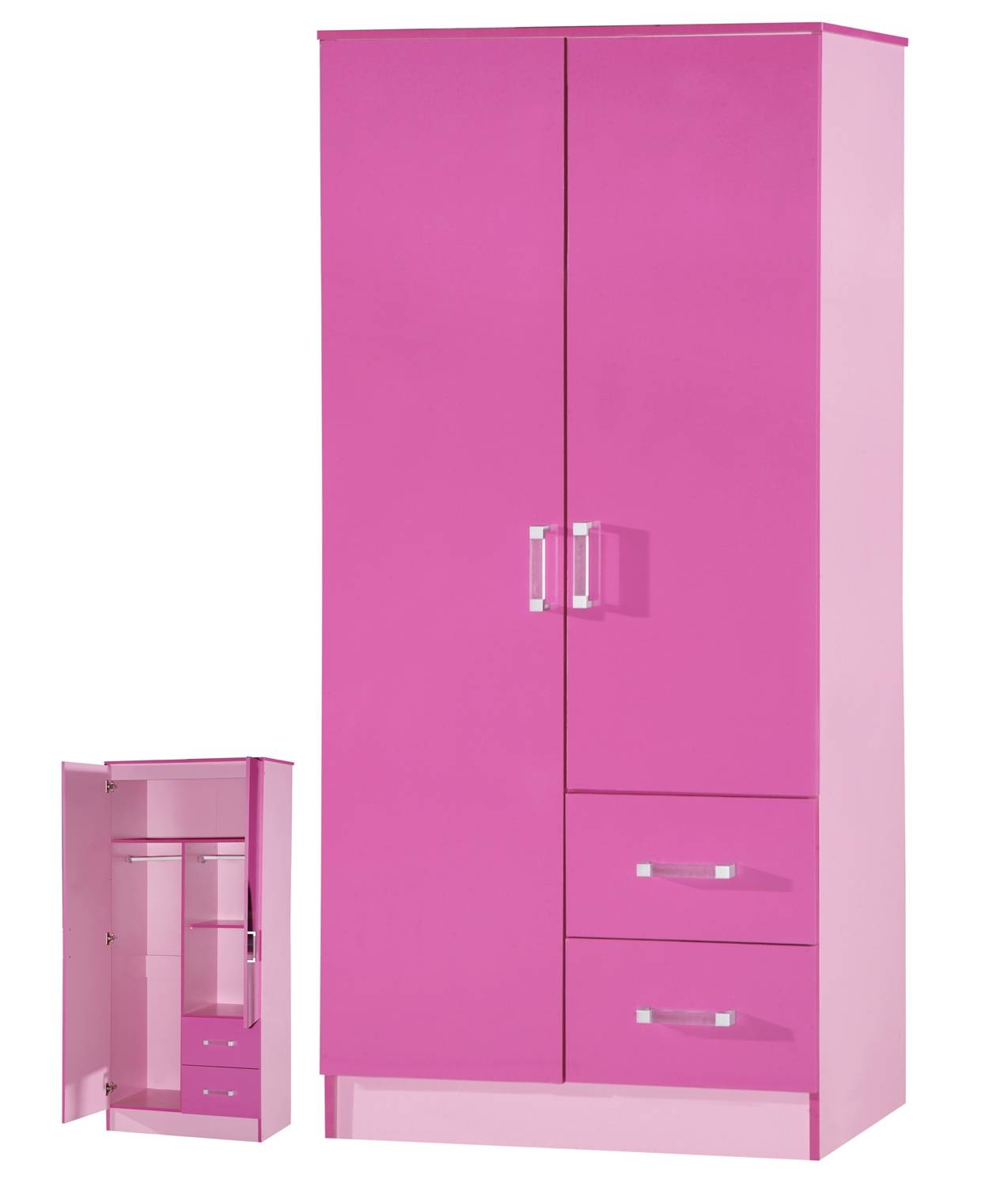 High Gloss Pink 2 Door 2 Drawer Wardrobe - Marina Kids Bedroom intended for Pink High Gloss Wardrobes (Image 4 of 15)