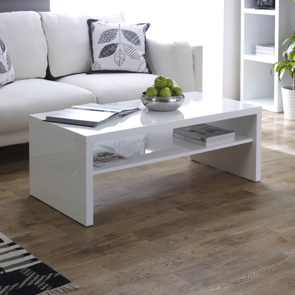 High Gloss Rectangle Coffee Table With Shelf in White High Gloss Coffee Tables (Image 14 of 30)