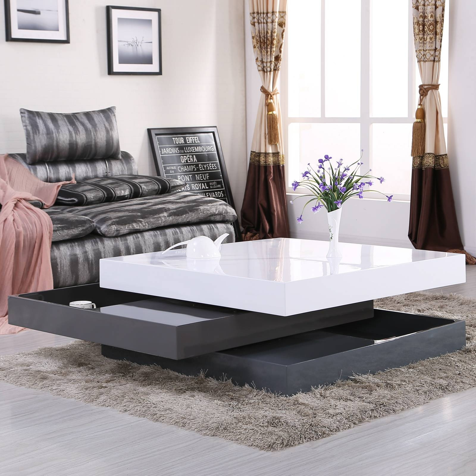 High Gloss Square Storage Rotating Coffee Table W/3 Layers Living in High Gloss Coffee Tables (Image 13 of 30)