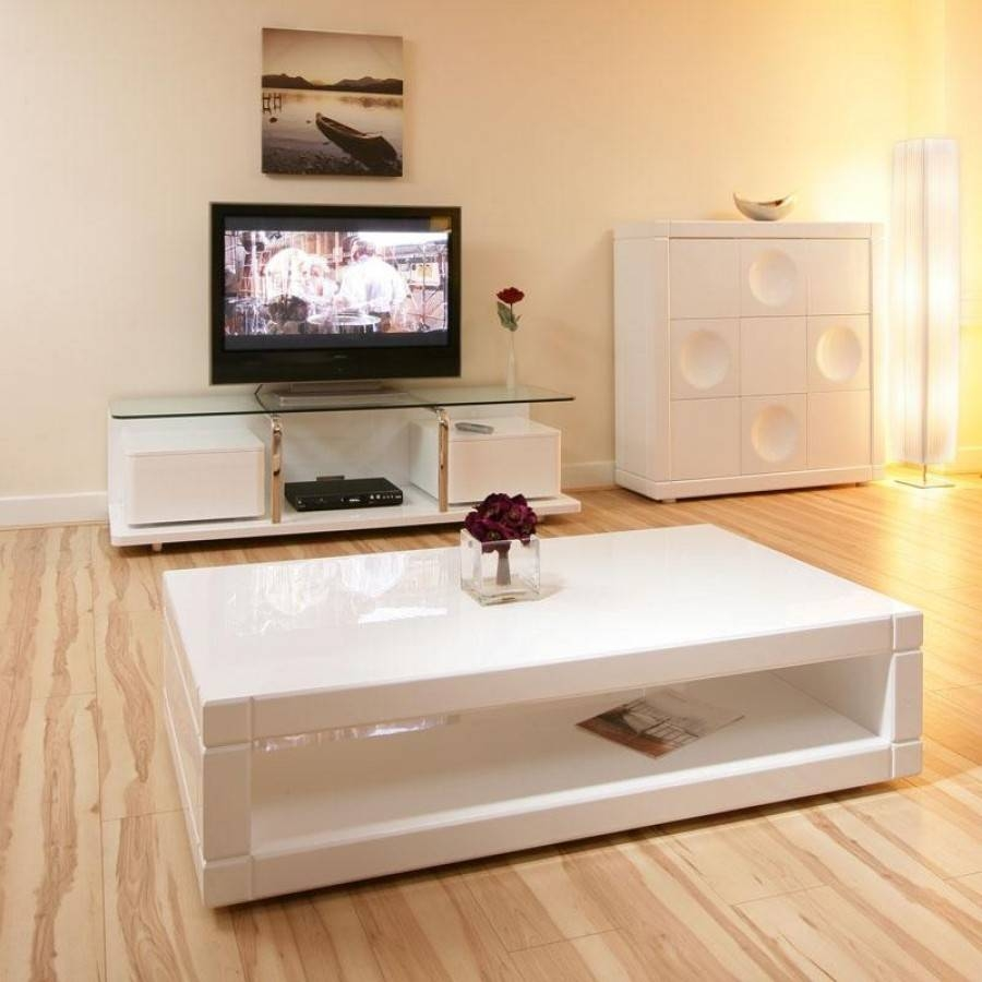 High Gloss White Coffee Table With Drawers | Coffee Tables Decoration in White Square Coffee Table (Image 20 of 30)