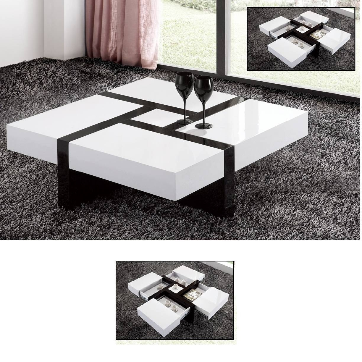 High Gloss White Coffee Table With Storage | Coffee Tables Decoration in White Gloss Coffee Tables (Image 15 of 30)