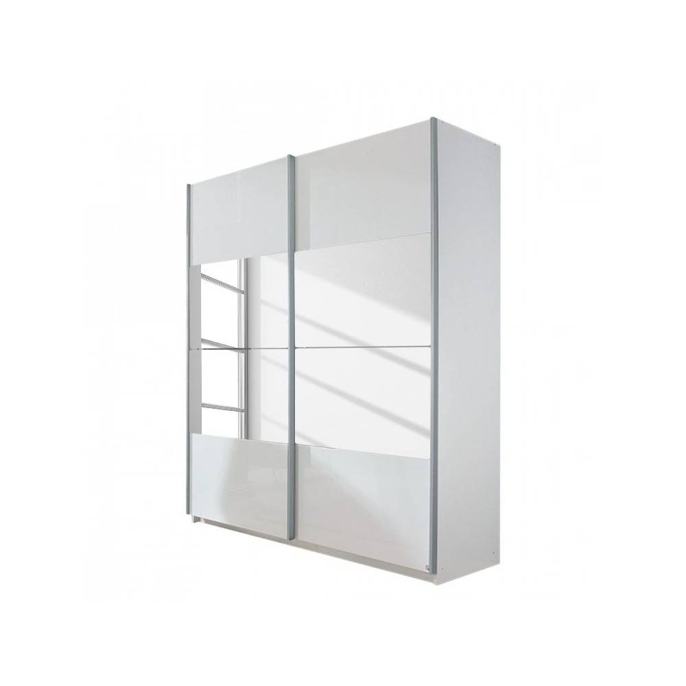 High Gloss White Rita Sliding Door Wardrobe With Mirrors. Freestanding For Black Gloss Mirror Wardrobes (Photo 10 of 15)