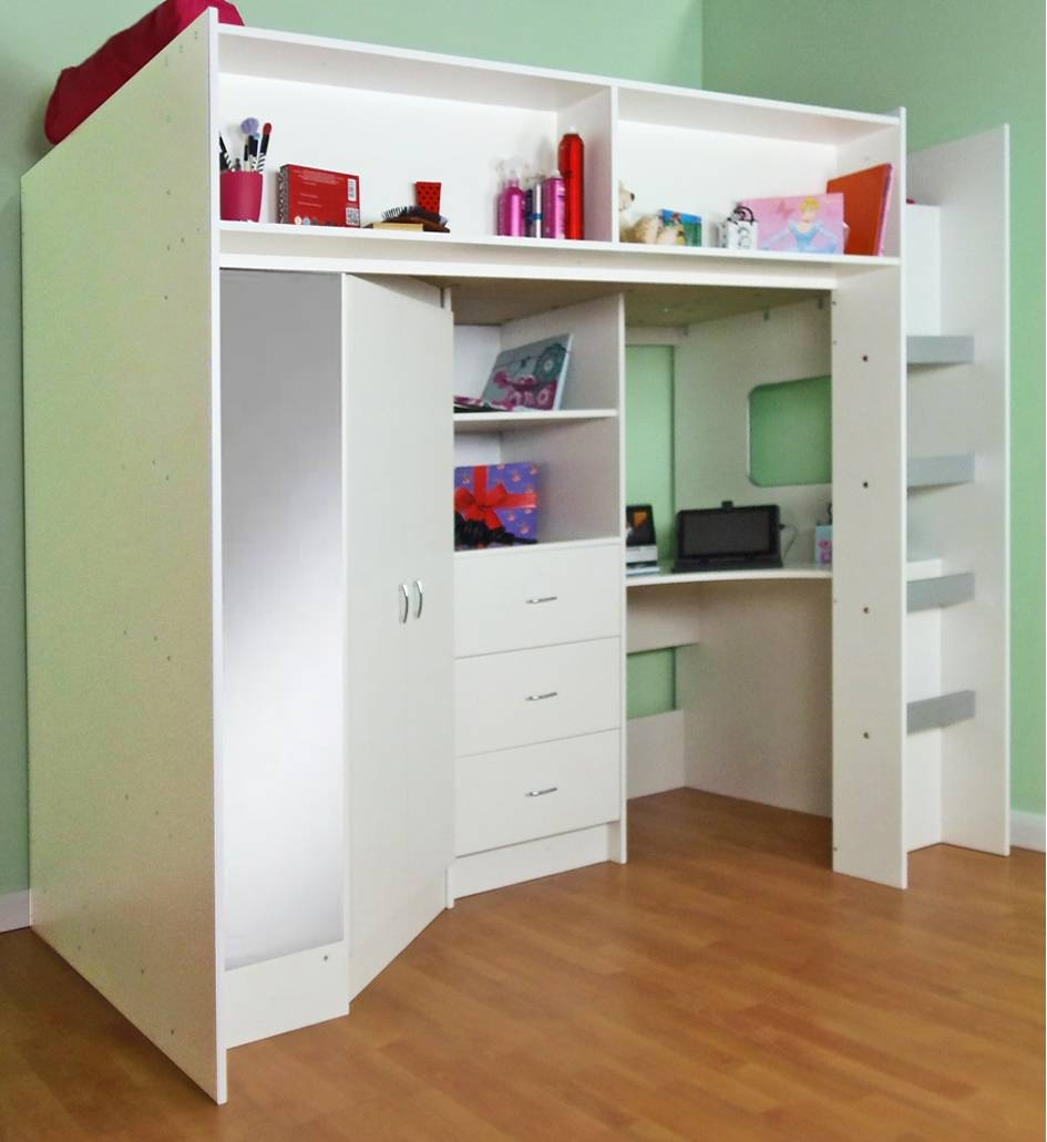 High Sleeper And High Cabin Beds For Childrens Bed With Wardrobes Underneath (View 7 of 15)