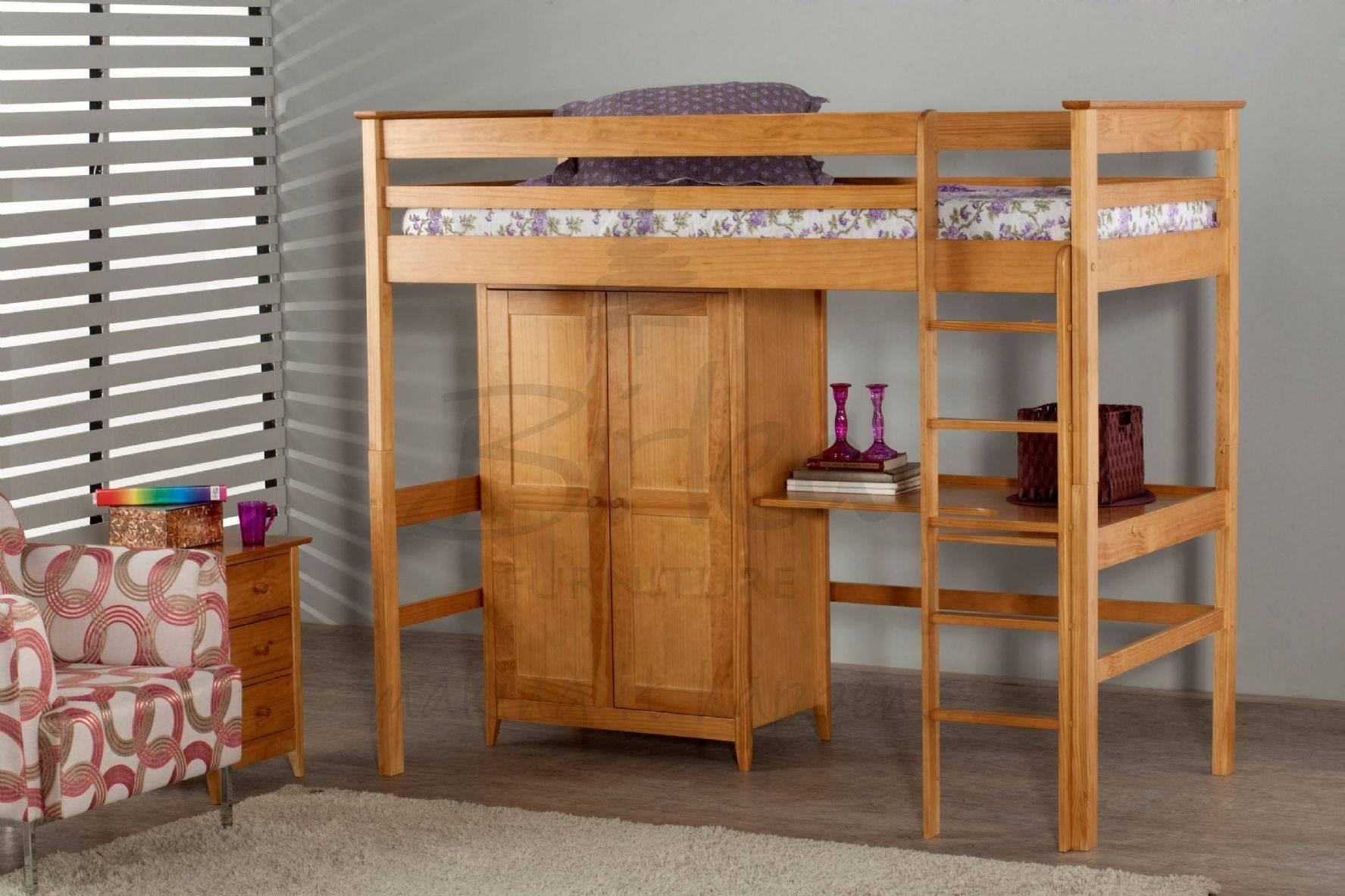 High Sleeper Bed | Fully Assembled Bedroom Furniture With Uk For Natural Pine Wardrobes (View 5 of 15)