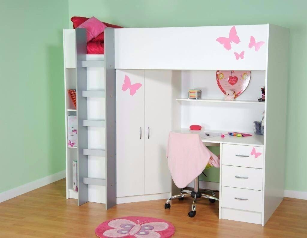 High Sleeper Bed With Desk & Wardrobe Loft Bed Kids Bed | In with High Sleeper With Wardrobes and Futon (Image 6 of 15)