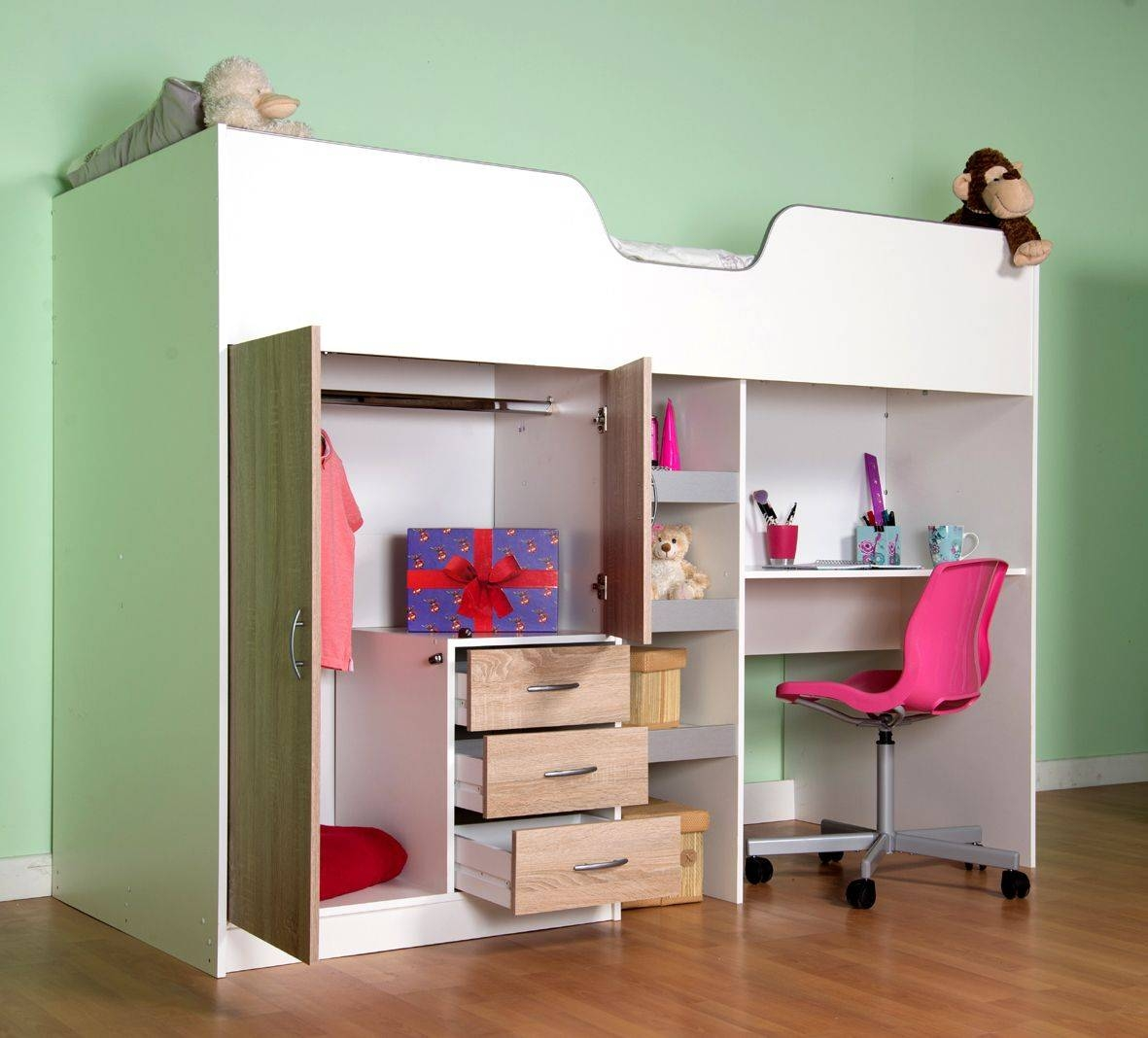 High Sleeper Cabin Bed - Available In White & Oak with regard to High Sleeper Cabin Bed With Wardrobes (Image 7 of 15)