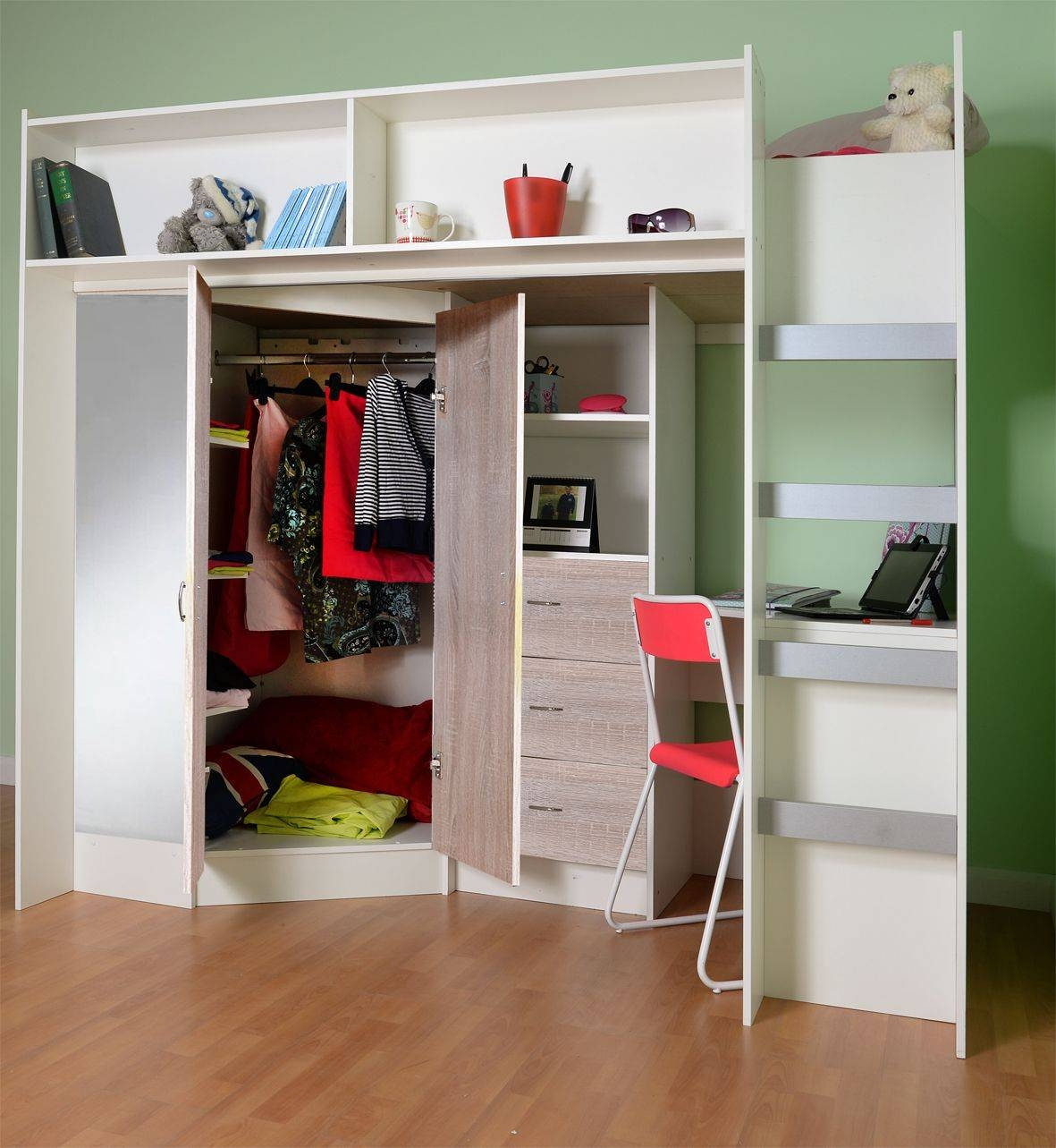 High Sleeper Cabin Bed for Kids Cabin Beds With Wardrobes (Image 5 of 15)