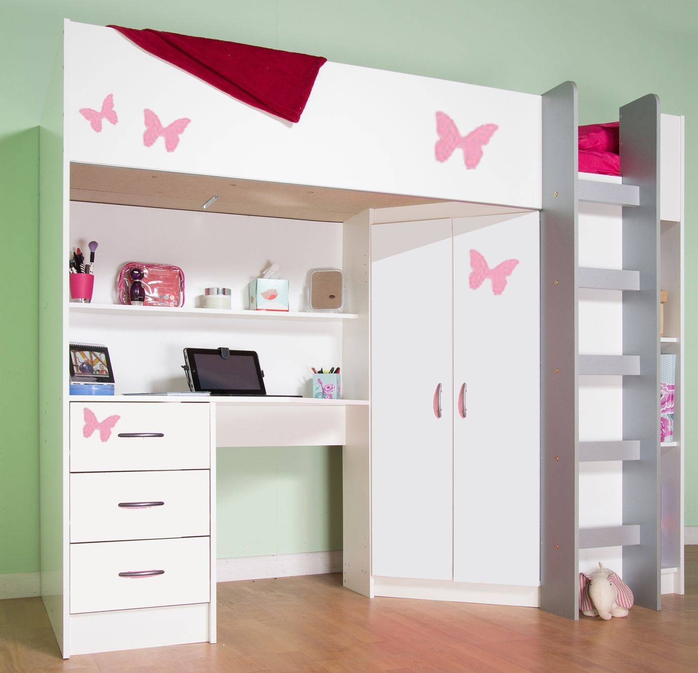 High Sleeper Cabin Bed, With Desk And Wardrobe. Calder M2270 throughout High Sleeper With Wardrobes and Desk (Image 9 of 15)