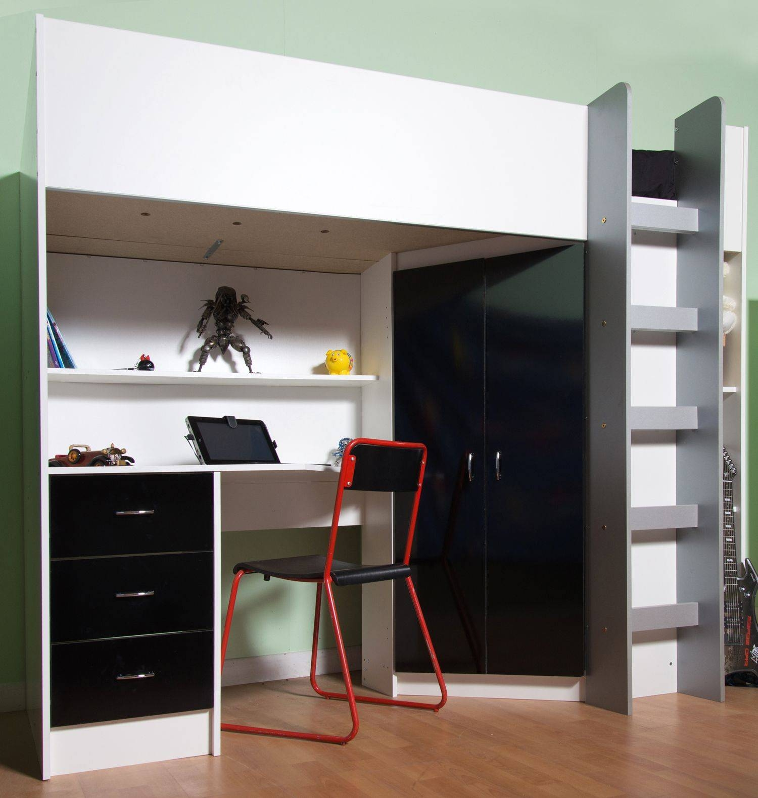 High Sleeper Cabin Bed, With Desk And Wardrobe. Calder M2270 with regard to High Sleeper Cabin Bed With Wardrobes (Image 12 of 15)