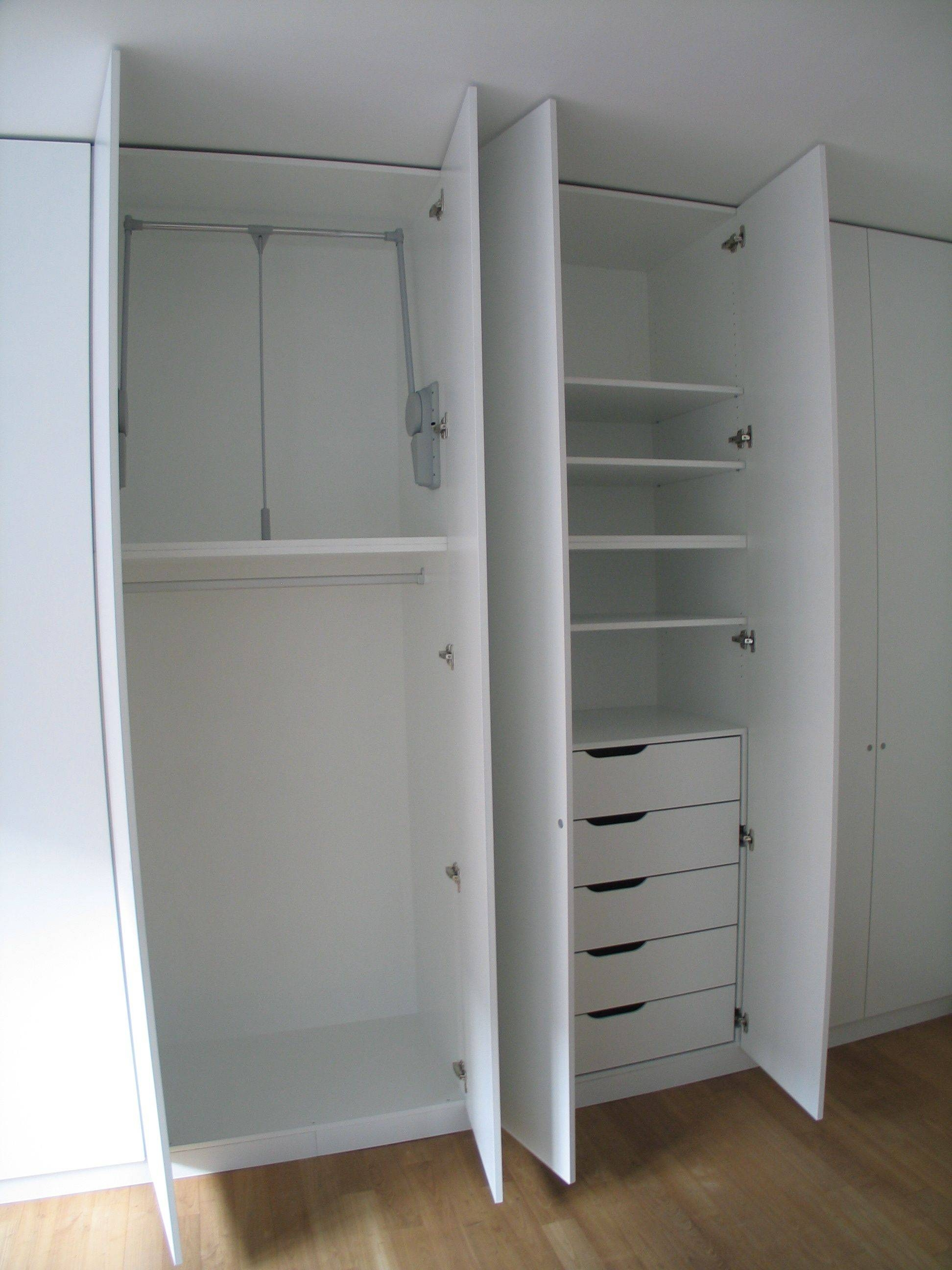 High White Wooden Wardrobe With Shelves Also Five Drawers Combined intended for Double Wardrobe With Drawers And Shelves (Image 20 of 30)