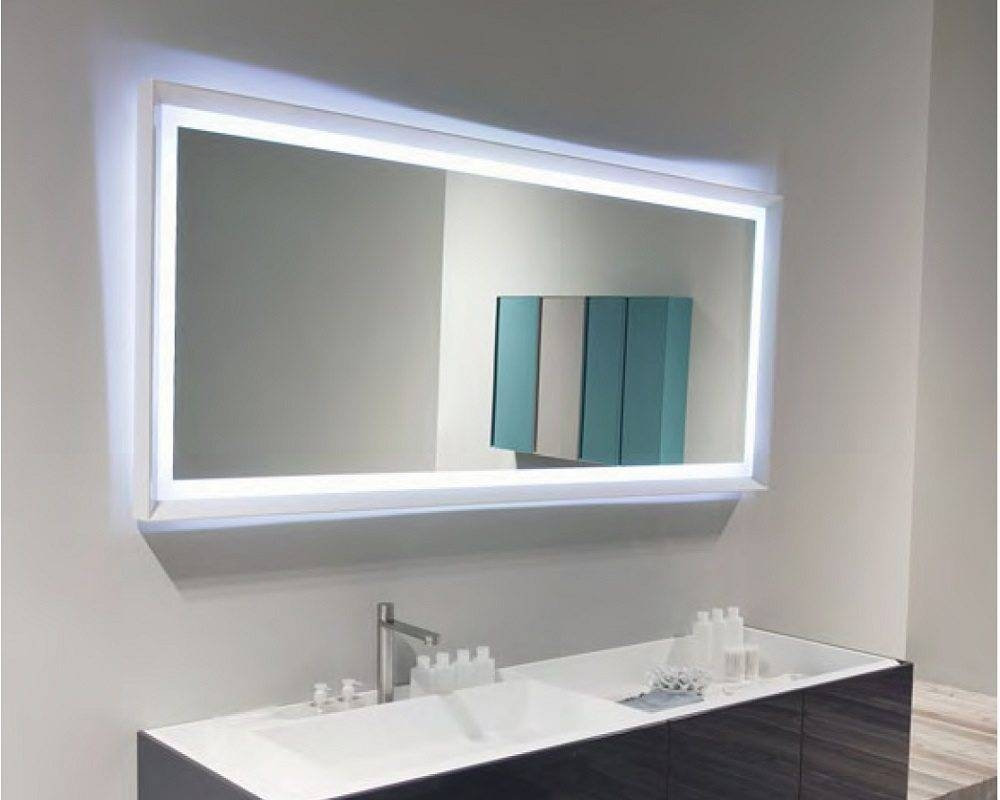 Highly Modern And Minimalist Large Bathroom Mirror With Blue with Mirrors With Blue Frame (Image 13 of 25)