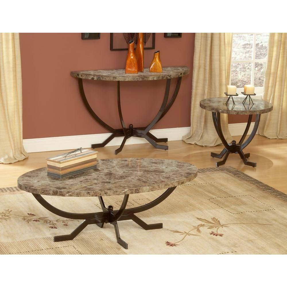Hillsdale Furniture Monaco Matte Espresso Marble Top Coffee Table within Marble And Metal Coffee Tables (Image 15 of 30)