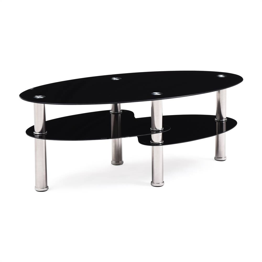 Hodedah Import Hict19 Black Oval Glass 3 Tier Coffee Table The with regard to Black Oval Coffee Tables (Image 22 of 30)