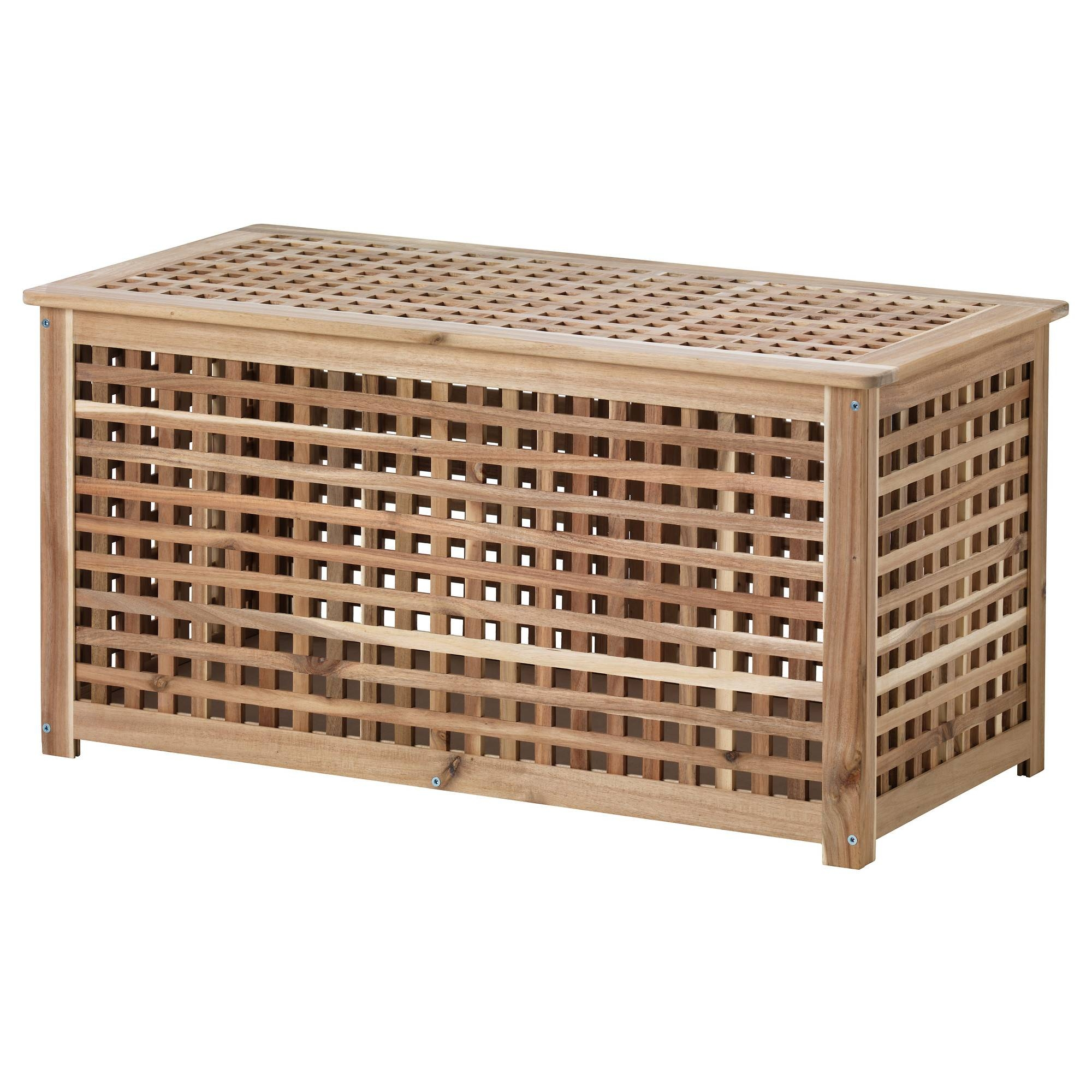 Hol Storage Table Acacia 98X50 Cm – Ikea Throughout Large Coffee Table With Storage (View 9 of 12)