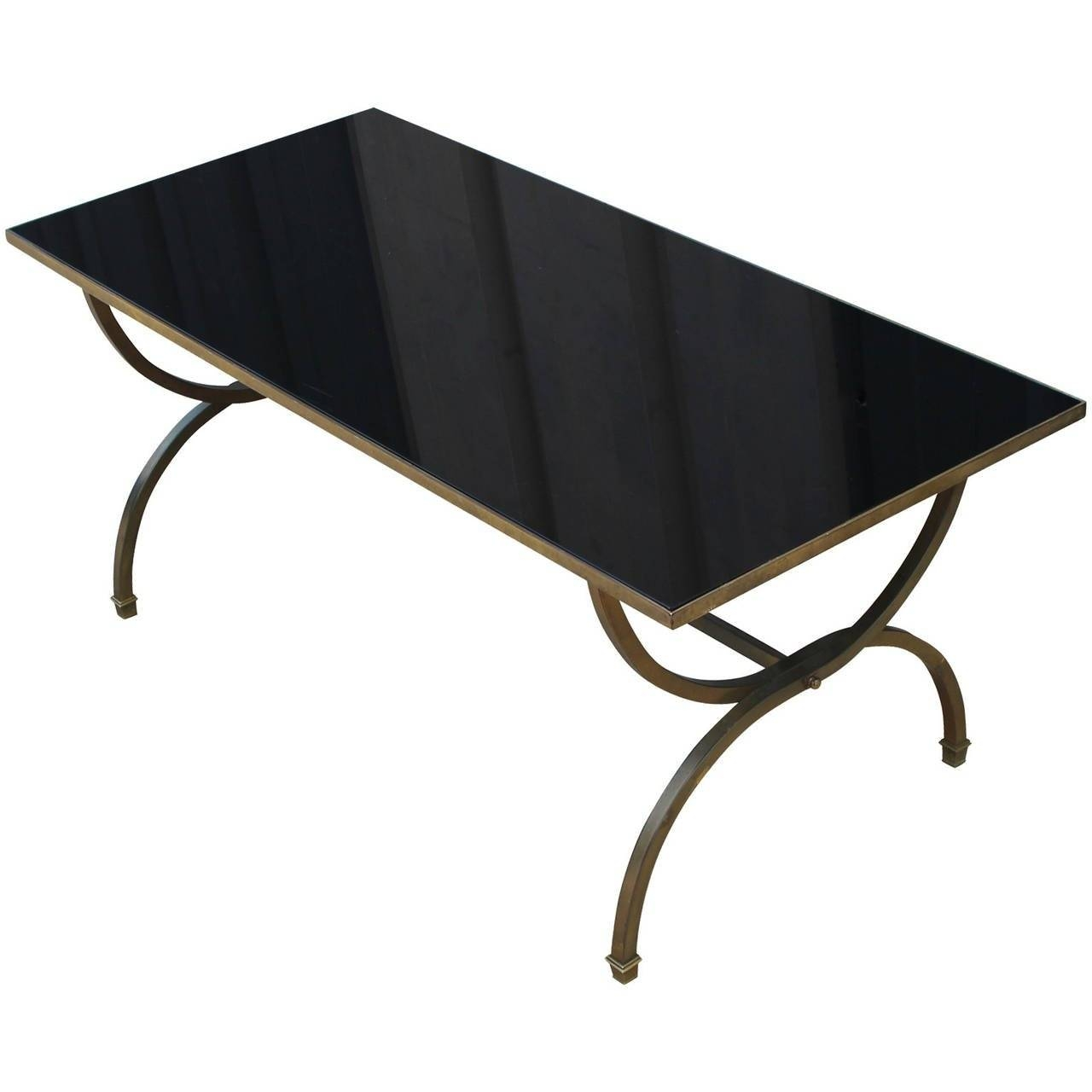 Hollywood Regency Style Black Glass And Brass Coffee Table For throughout Black Glass Coffee Tables (Image 21 of 30)