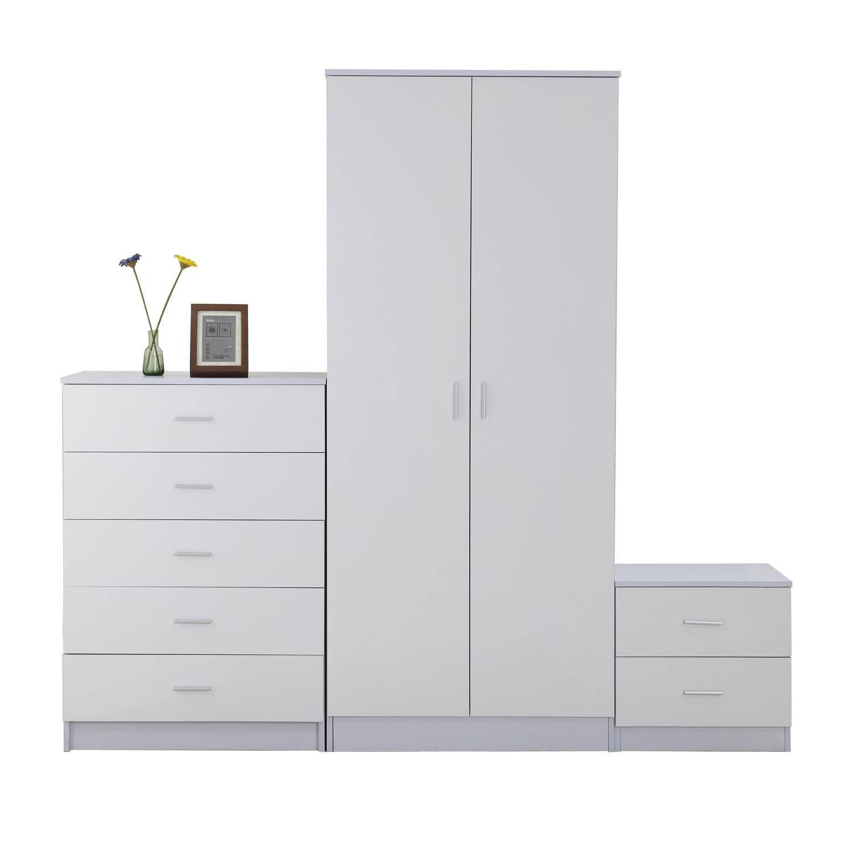 Homcom 3 Pc High Gloss Wardrobe Set-White | Aosom.co.uk in Black And White Wardrobes Set (Image 9 of 15)