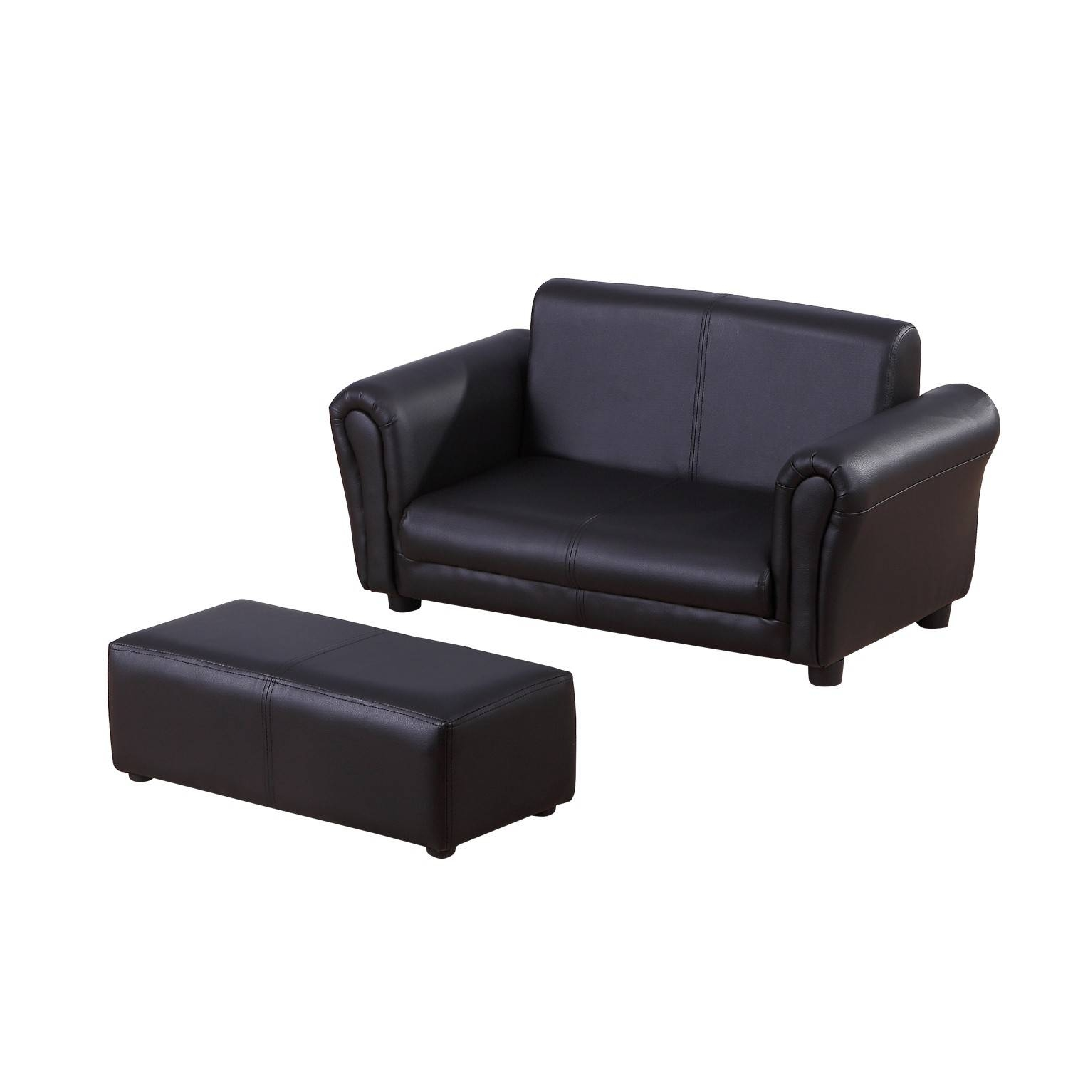 Homcom Children 2-Seater Sofa W/footstool-Black | Aosom.co.uk throughout Black 2 Seater Sofas (Image 14 of 30)