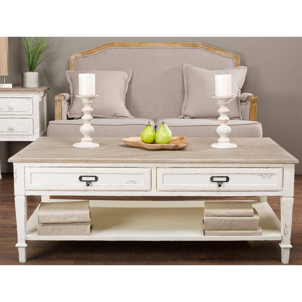 Home Decorators Collection Anjou White Wash Coffee Table within White And Brown Coffee Tables (Image 19 of 30)