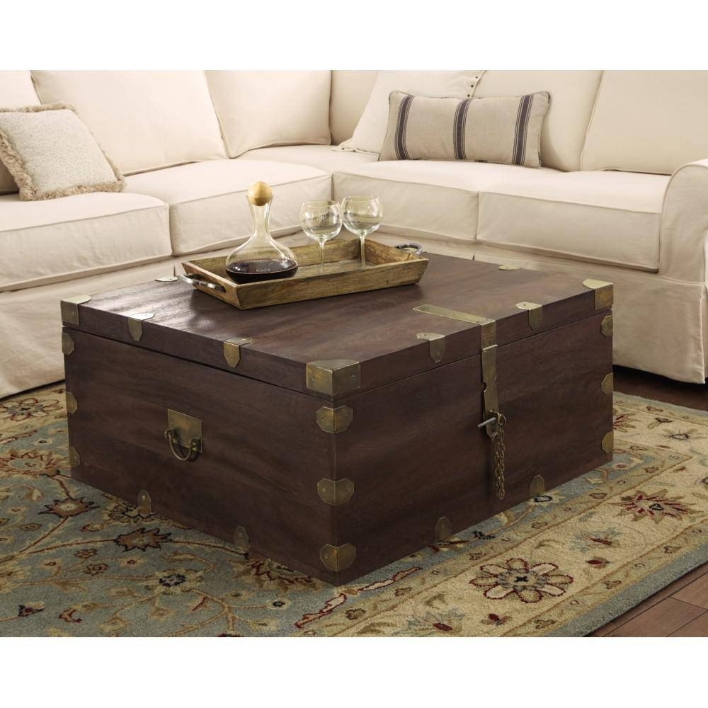 Home Decorators Collection Langston Dark Caffe Built In Storage With Square Storage Coffee Tables (View 19 of 30)