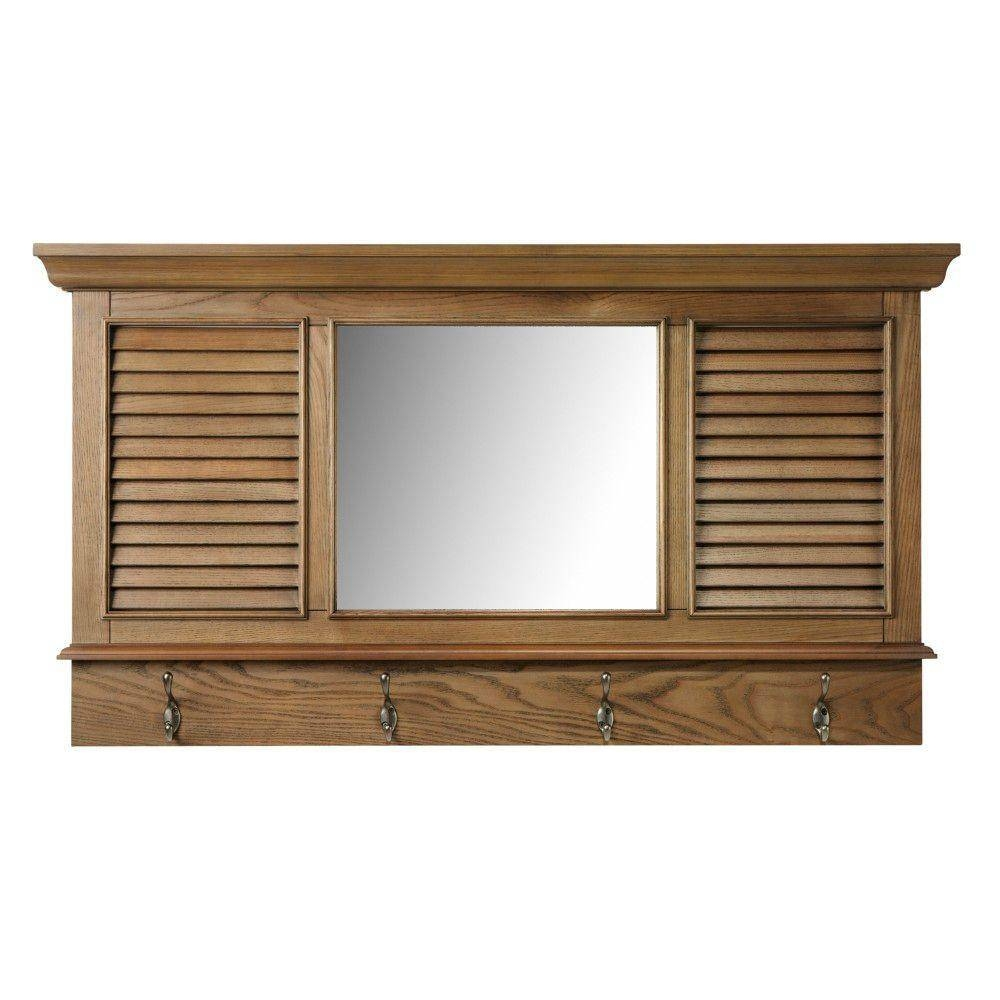 Home Decorators Collection Shutter 23.25 In. H X 43 In. W in Oak Framed Wall Mirrors (Image 4 of 25)