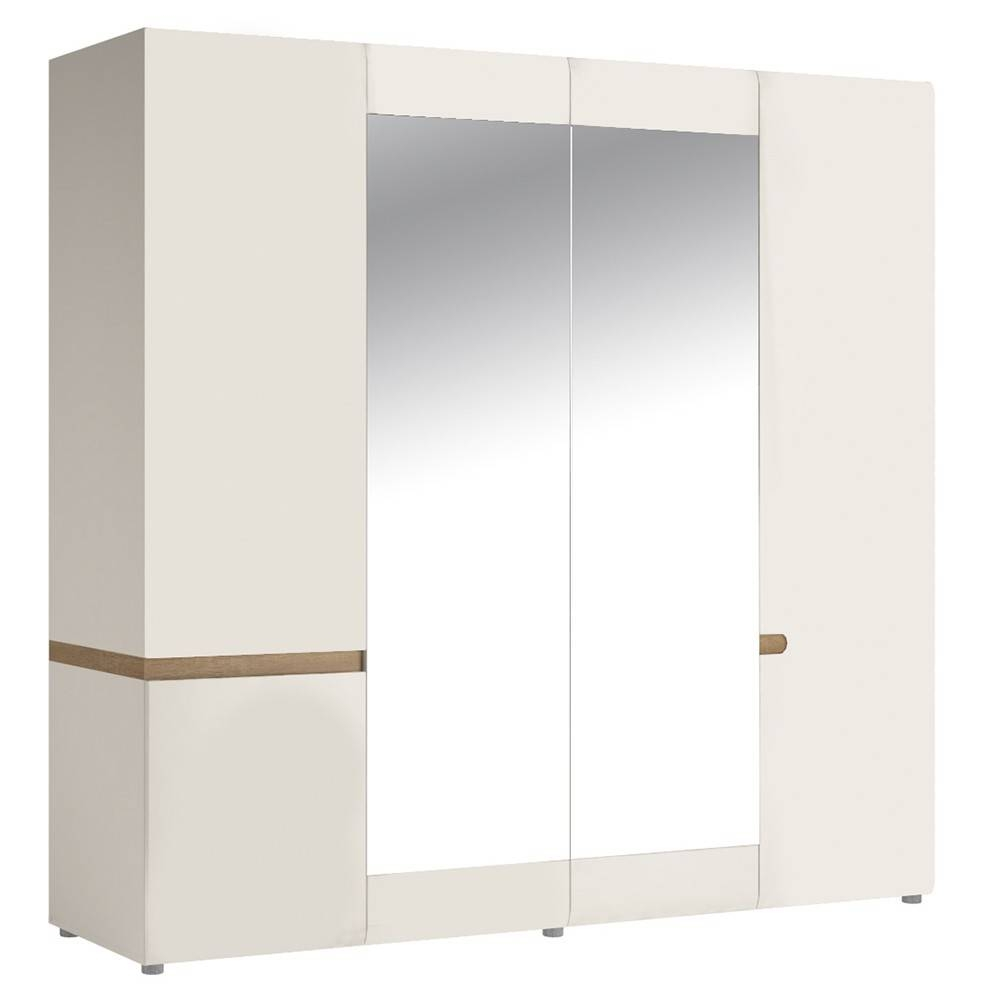 Home & Furniture - Bedroom Furniture - White Gloss With Oak Trim with 4 Door White Wardrobes (Image 11 of 15)