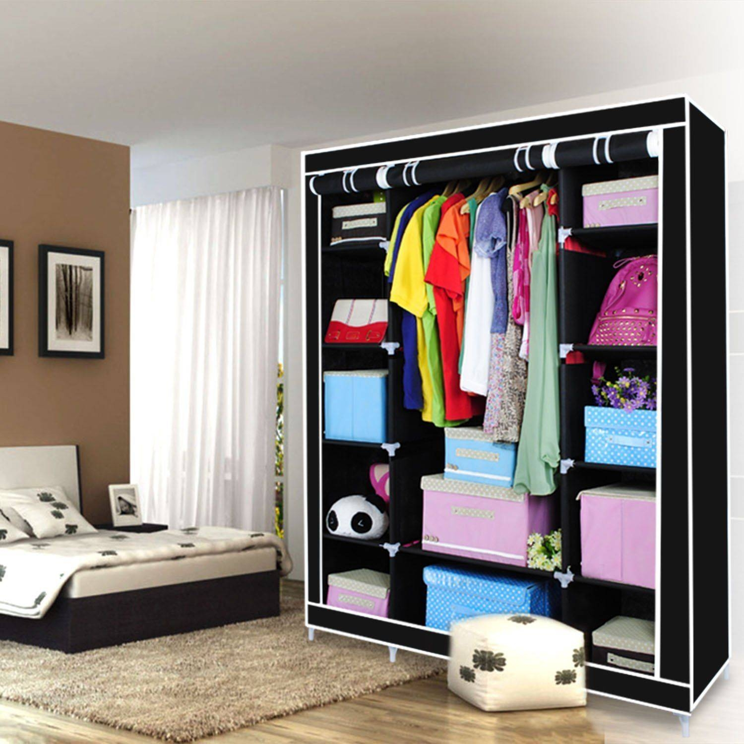 Home Furniture Storage Triple Multiple Canvas Wardrobe With throughout Double Rail Canvas Wardrobes (Image 16 of 30)