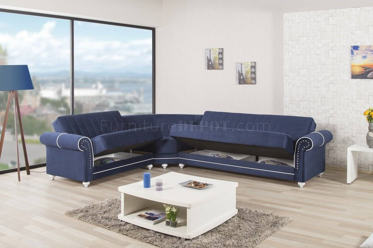 Home Sectional Sofa In Dark Blue Fabriccasamode regarding Dark Blue Sofas (Image 10 of 30)
