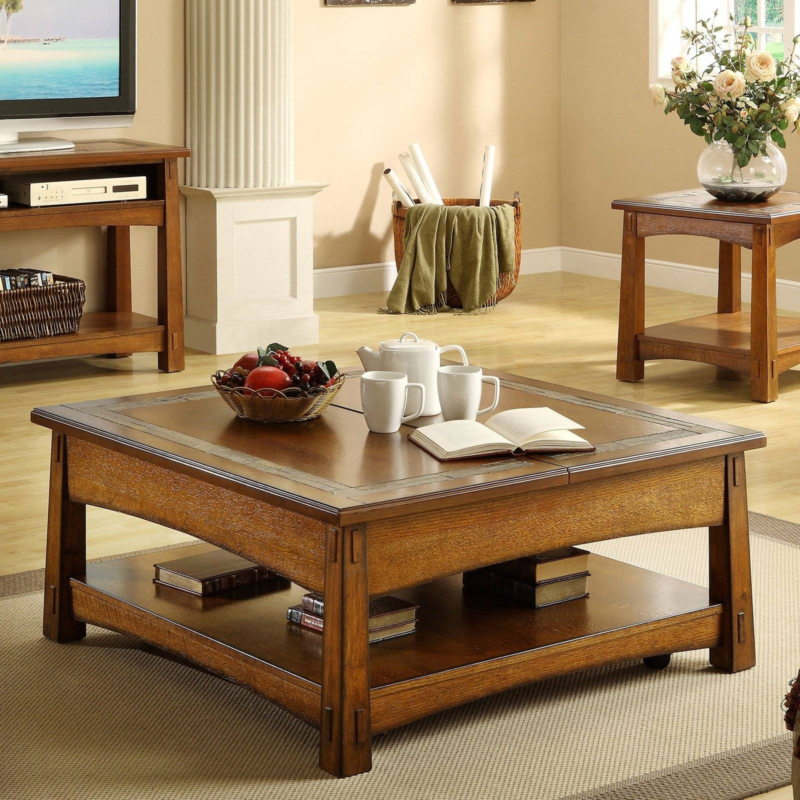 Home Styles Concrete Chic Square Coffee Table - Coffee Tables At within Oak Square Coffee Tables (Image 9 of 30)